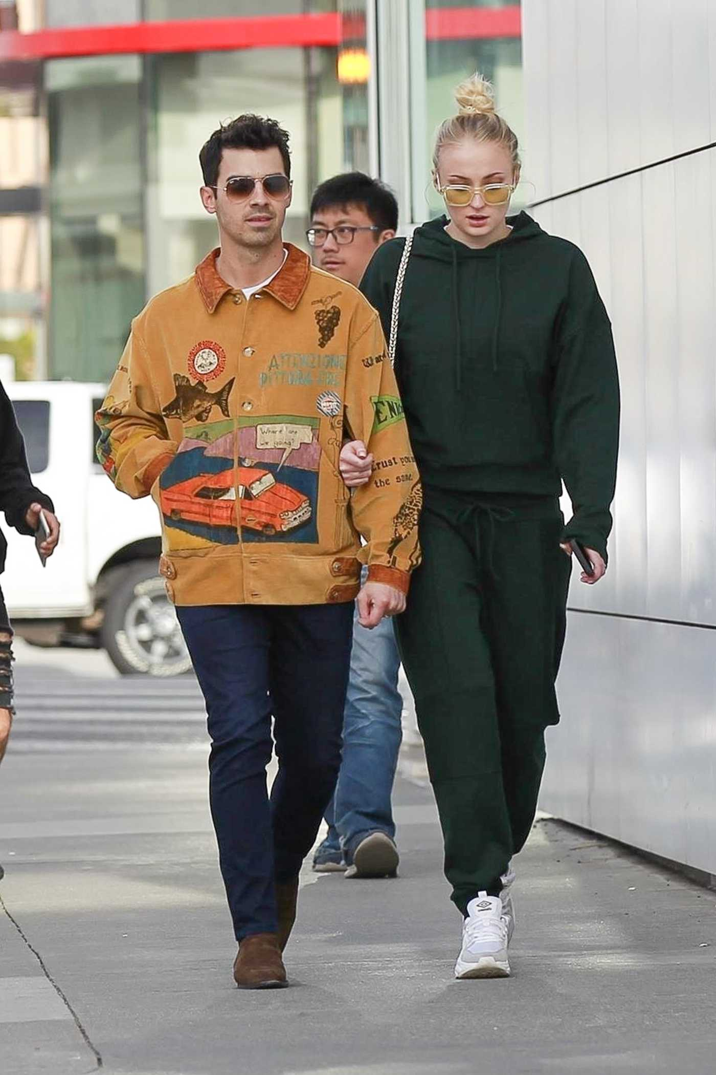 Sophie Turner in a Green Sweatsuit Was Seen Out with Joe Jonas in Beverly Hills 01/24/2020
