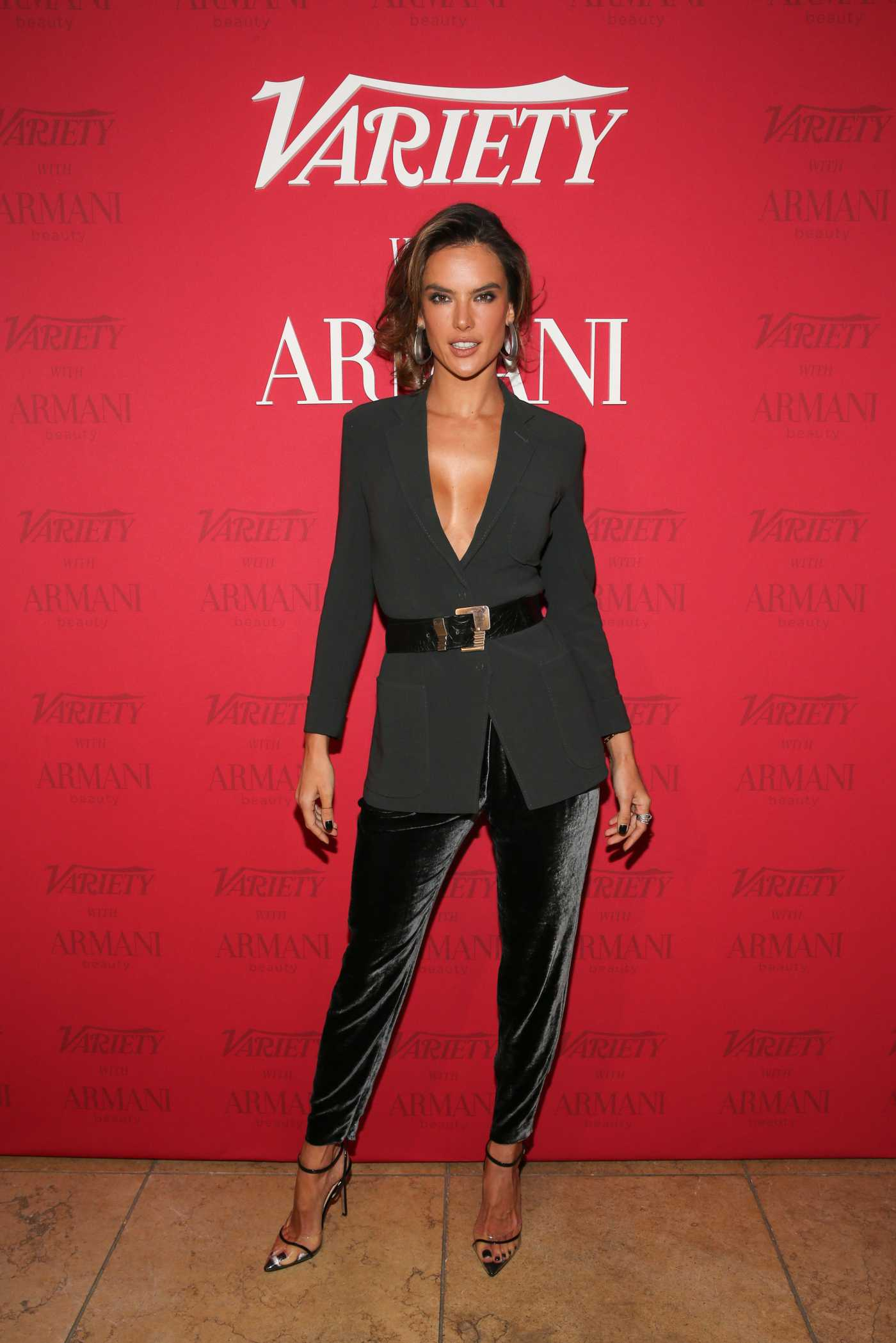 Alessandra Ambrosio Attends the Variety x Armani Makeup Artistry Dinner at Sunset Tower in Los Angeles 02/04/2020