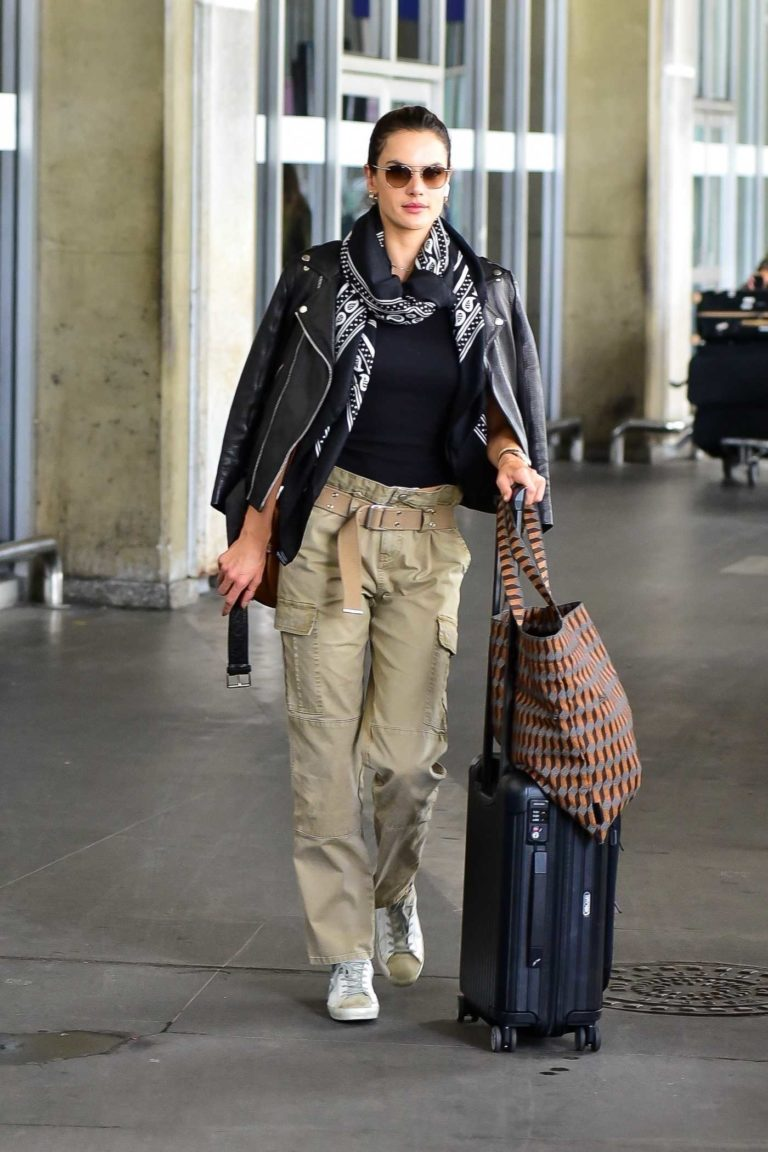 Alessandra Ambrosio in a Beige Pants
