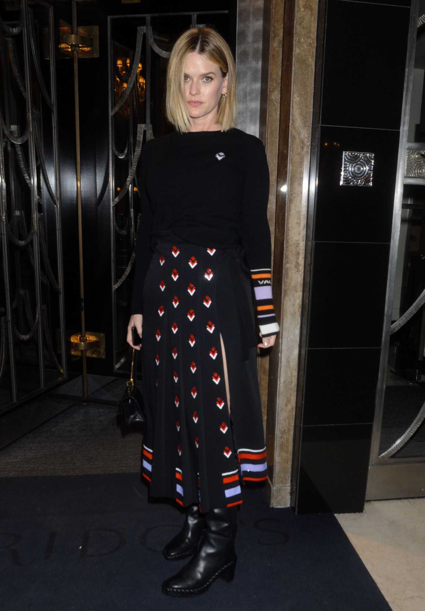 Alice Eve Attends 2020 Fashion our Future Launch at the Claridges Hotel in London 02/17/2020
