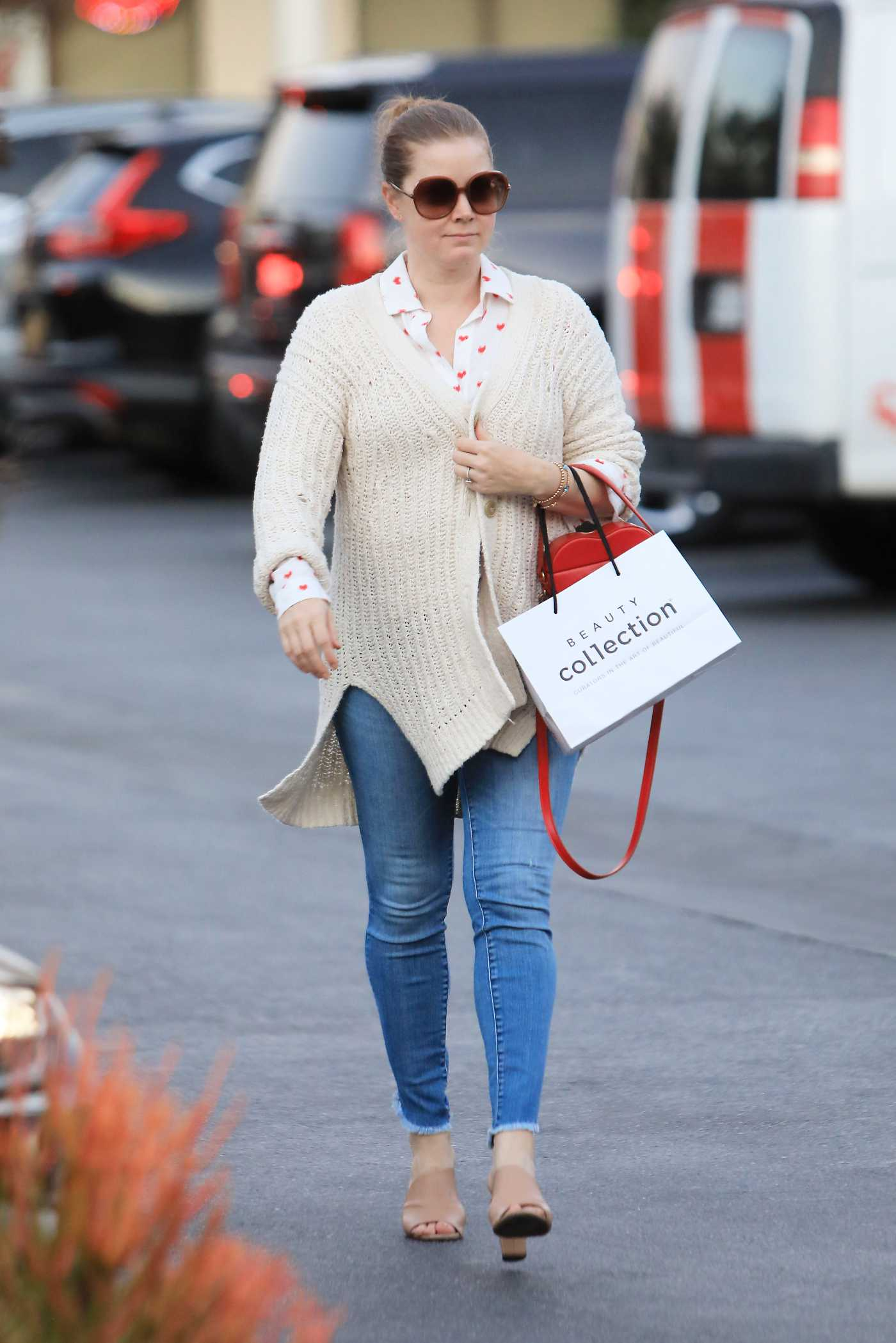 Amy Adams in a Beige Cardigan Goas Grocery Shopping in Los Angeles 02/14/2020