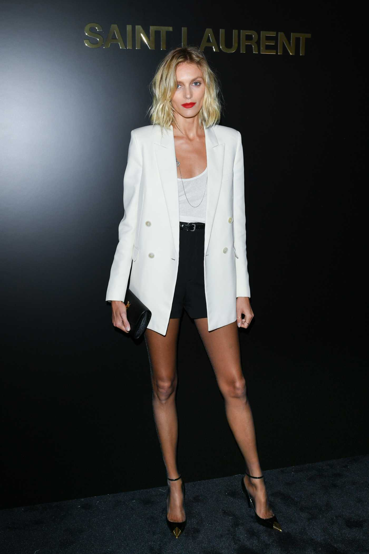 Anja Rubik Attends 2020 Saint Laurent Fashion Show in Paris 02/25/2020