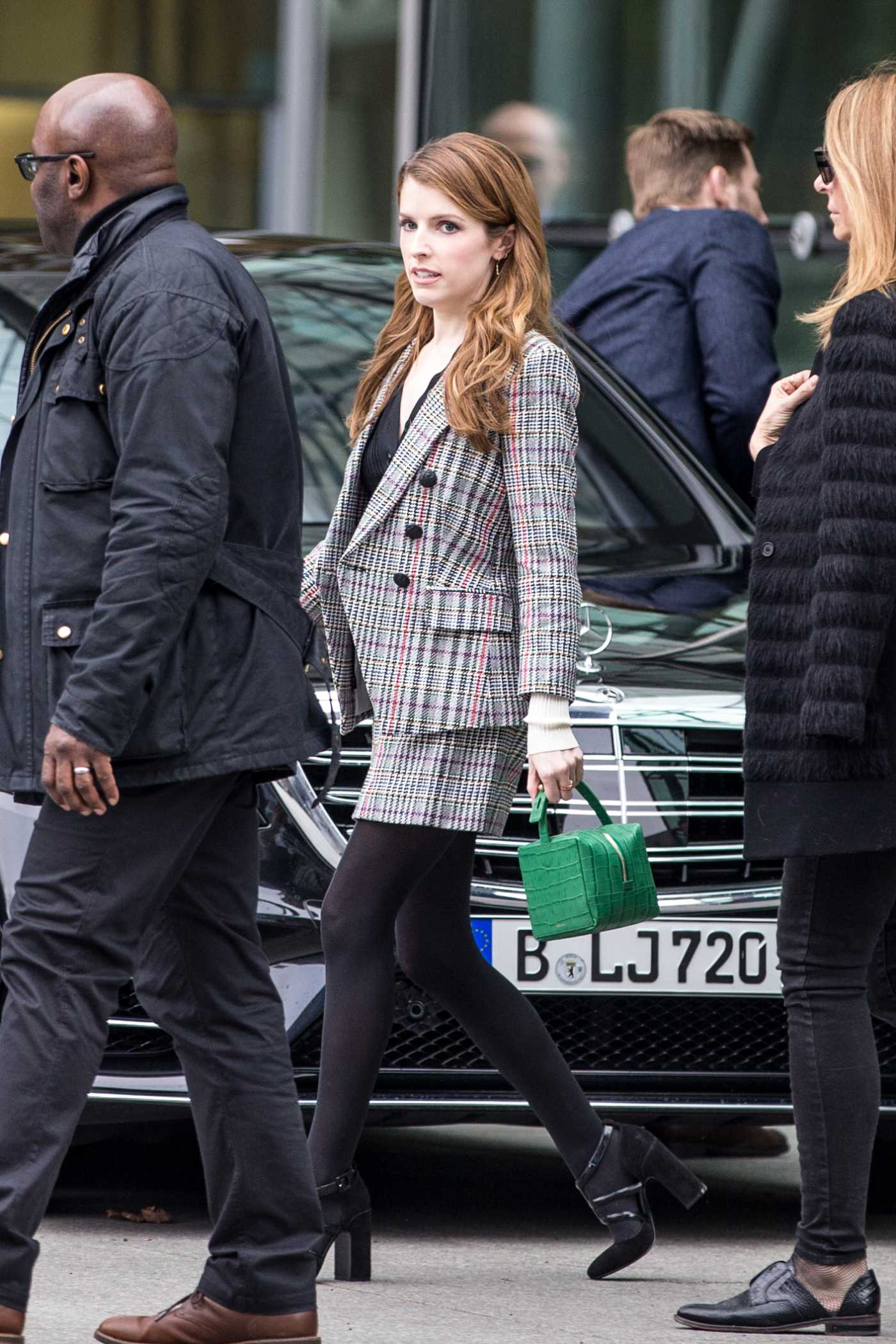 Anna Kendrick in a Gray Suit Was Seen Out in Berlin 02/17/2020