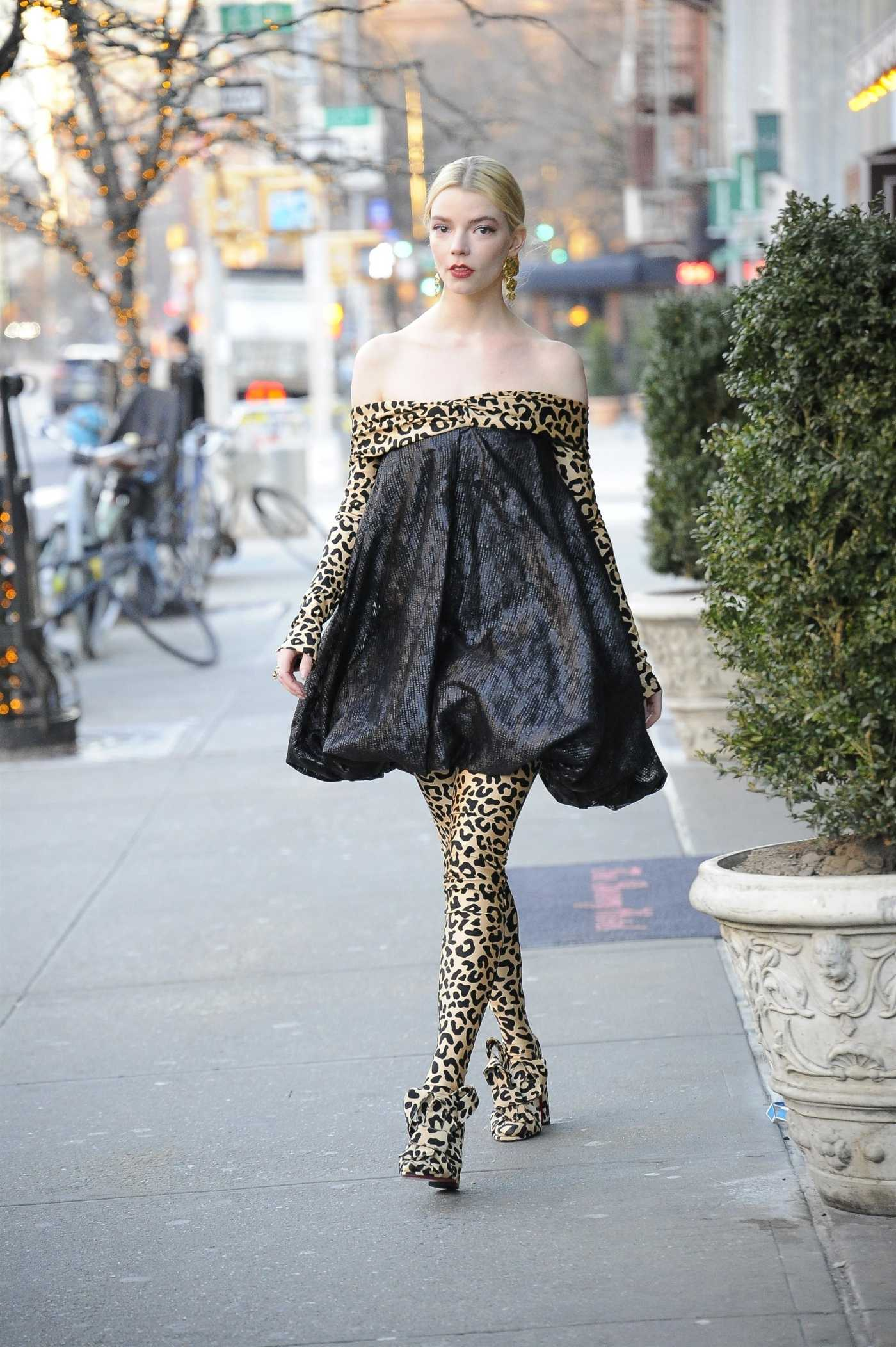 Anya Taylor-Joy in a Leopard Print Suit Was Seen Out in New York City 02/17/2020