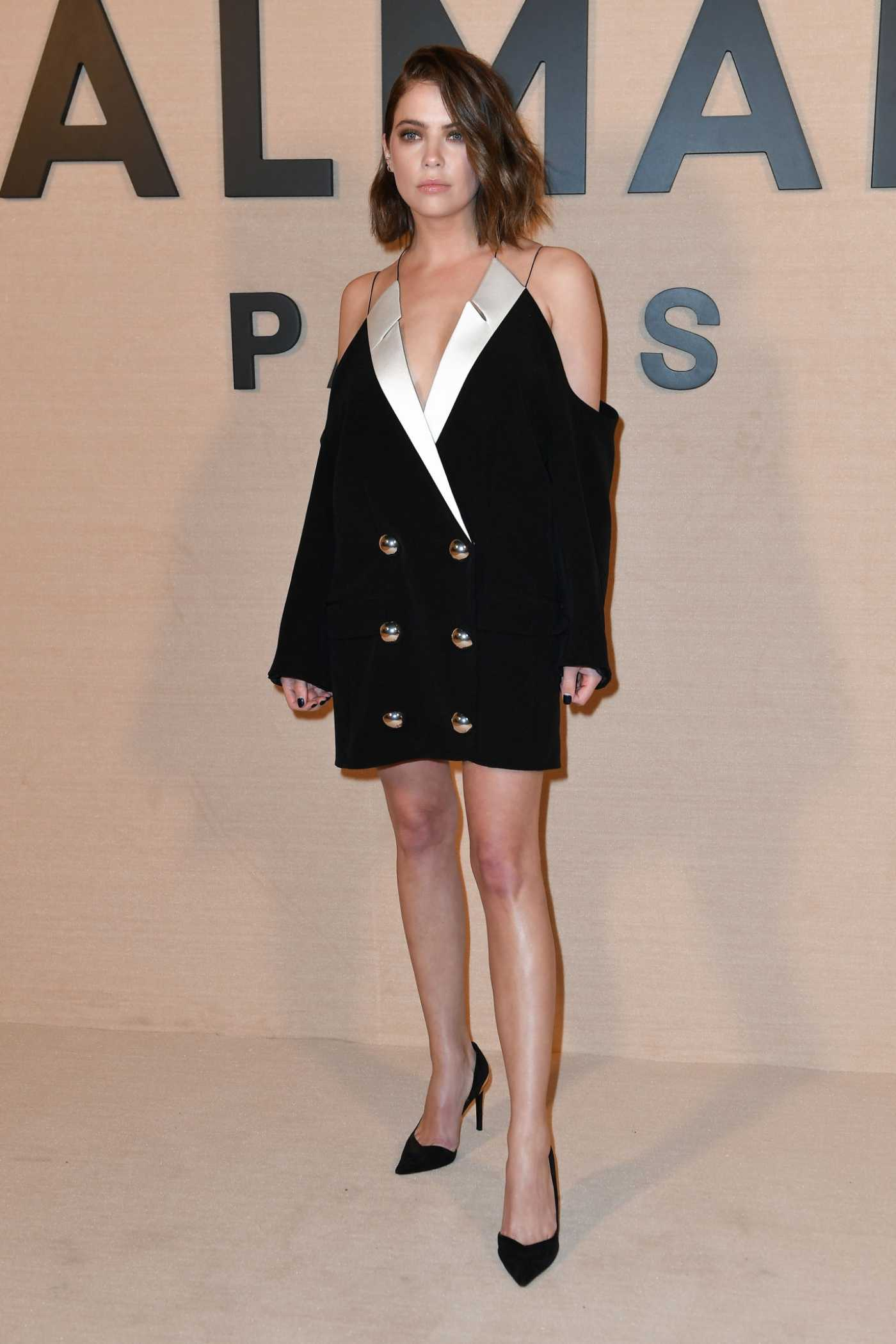 Ashley Benson Attends the Balmain Fashion Show in Paris 02/28/2020