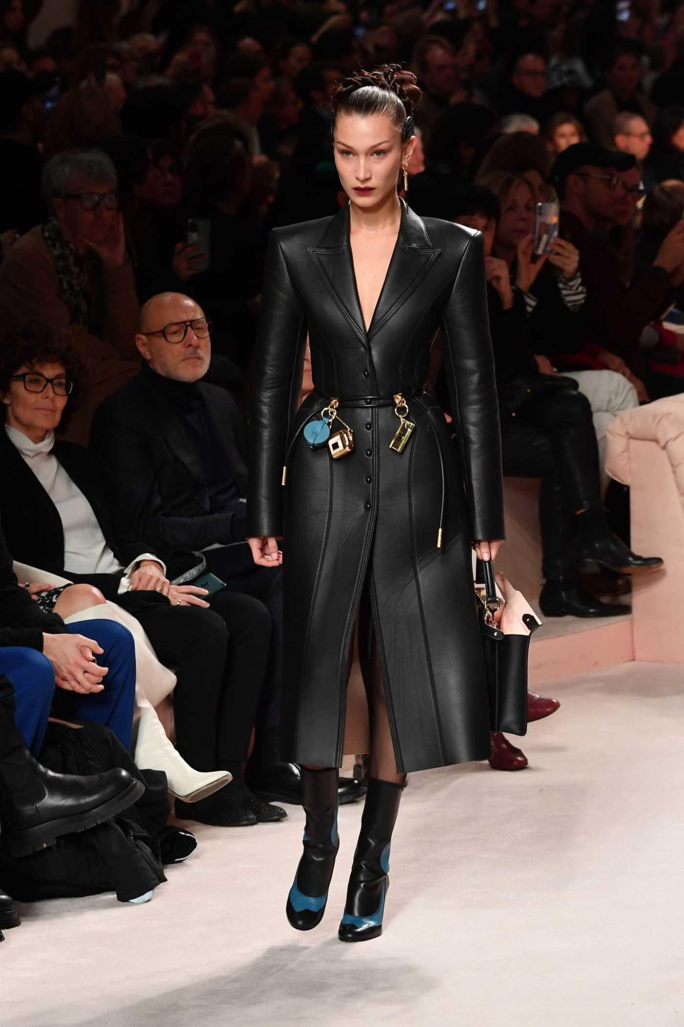 Bella Hadid Attends 2020 Fendi Fashion Show in Milan 02/20/2020