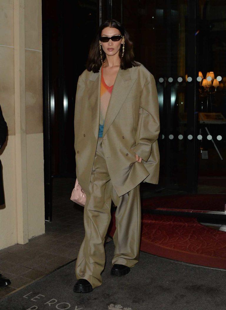 Bella Hadid in a Beige Oversized Suit