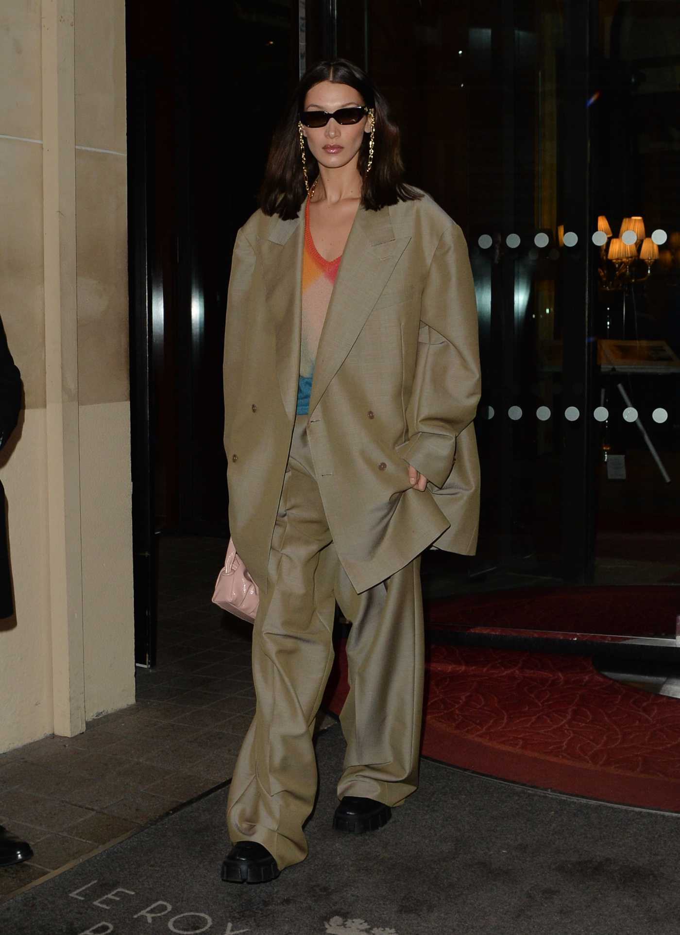 Bella Hadid in a Beige Oversized Suit Leaves Her Hotel in Paris 02/28/2020