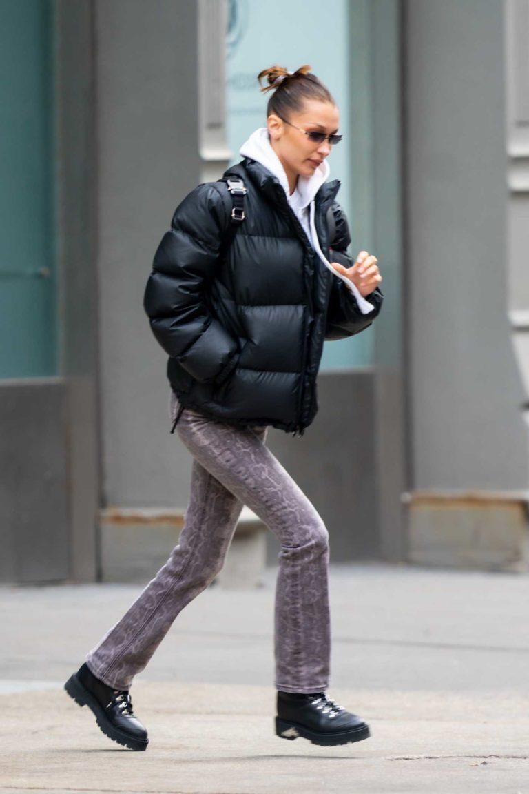 Bella Hadid in a Black Puffer Jacket
