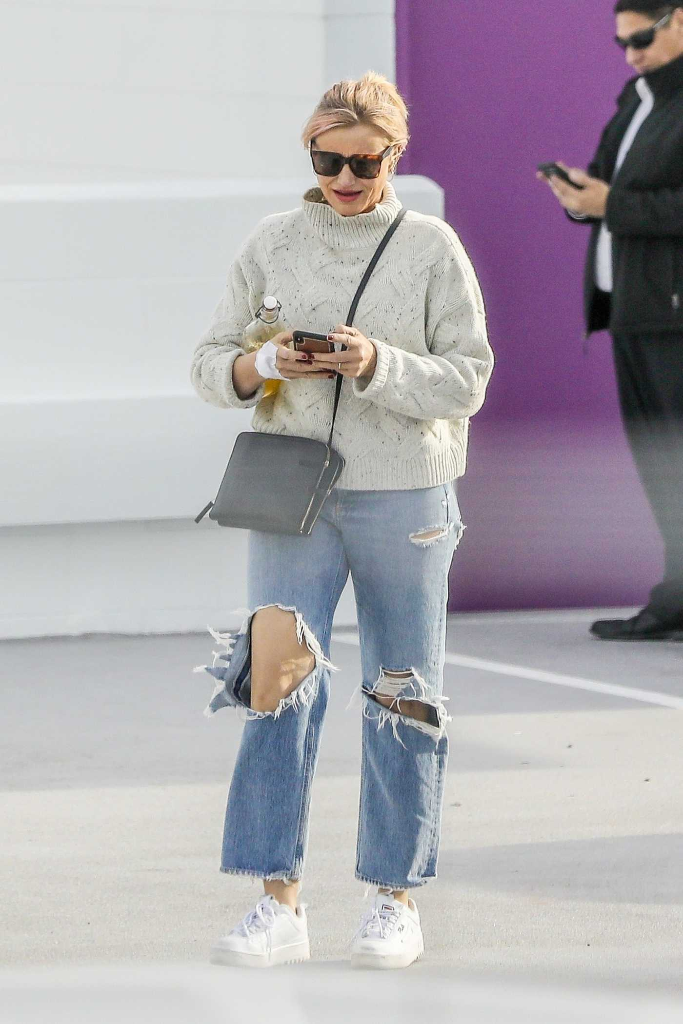 Cameron Diaz in a Blue Ripped Jeans Was Seen Out in Santa Monica 01/31/2020