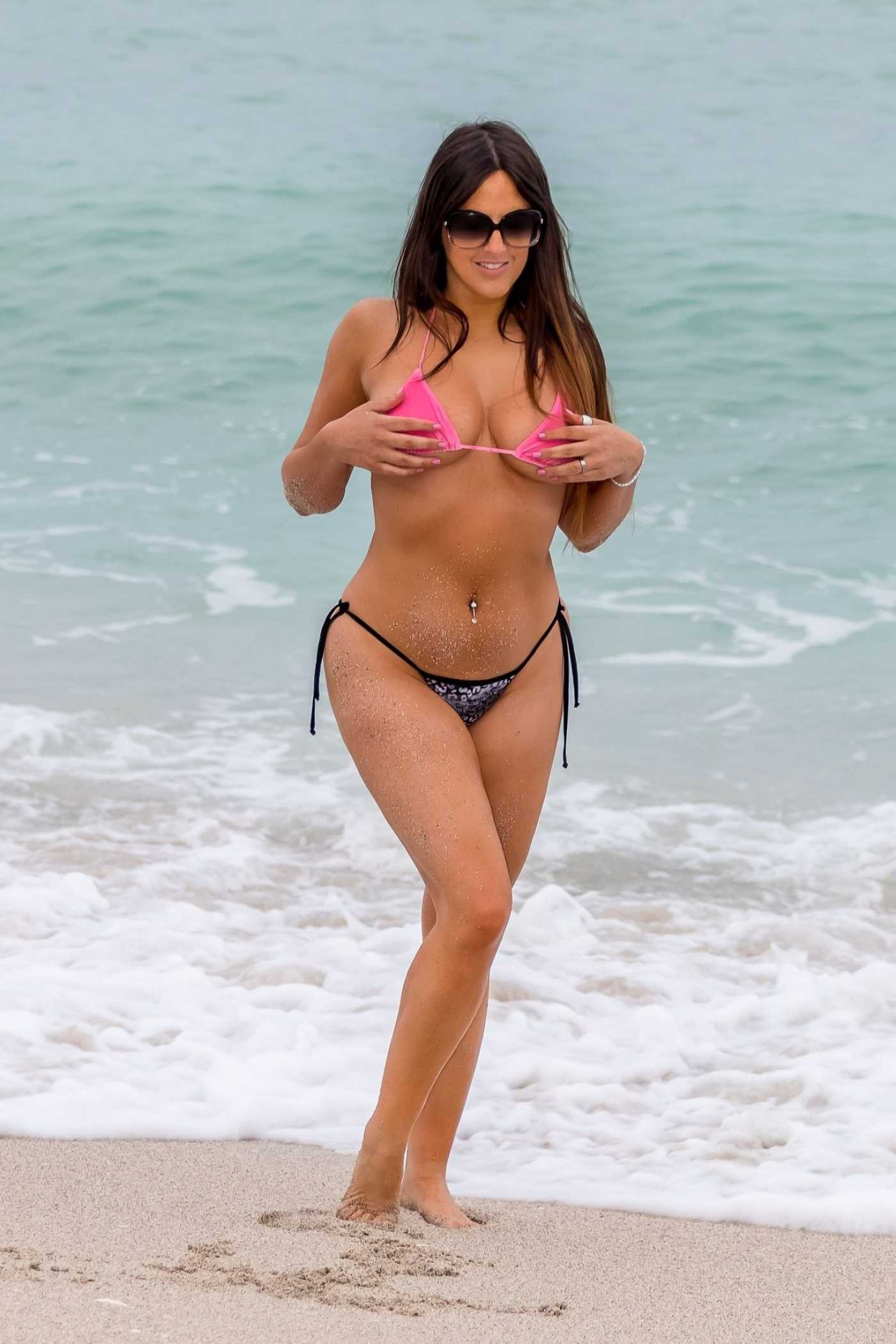 Claudia Romani in Bikini on the Beach During the Wine and Food Festival in Miami 02/23/2020