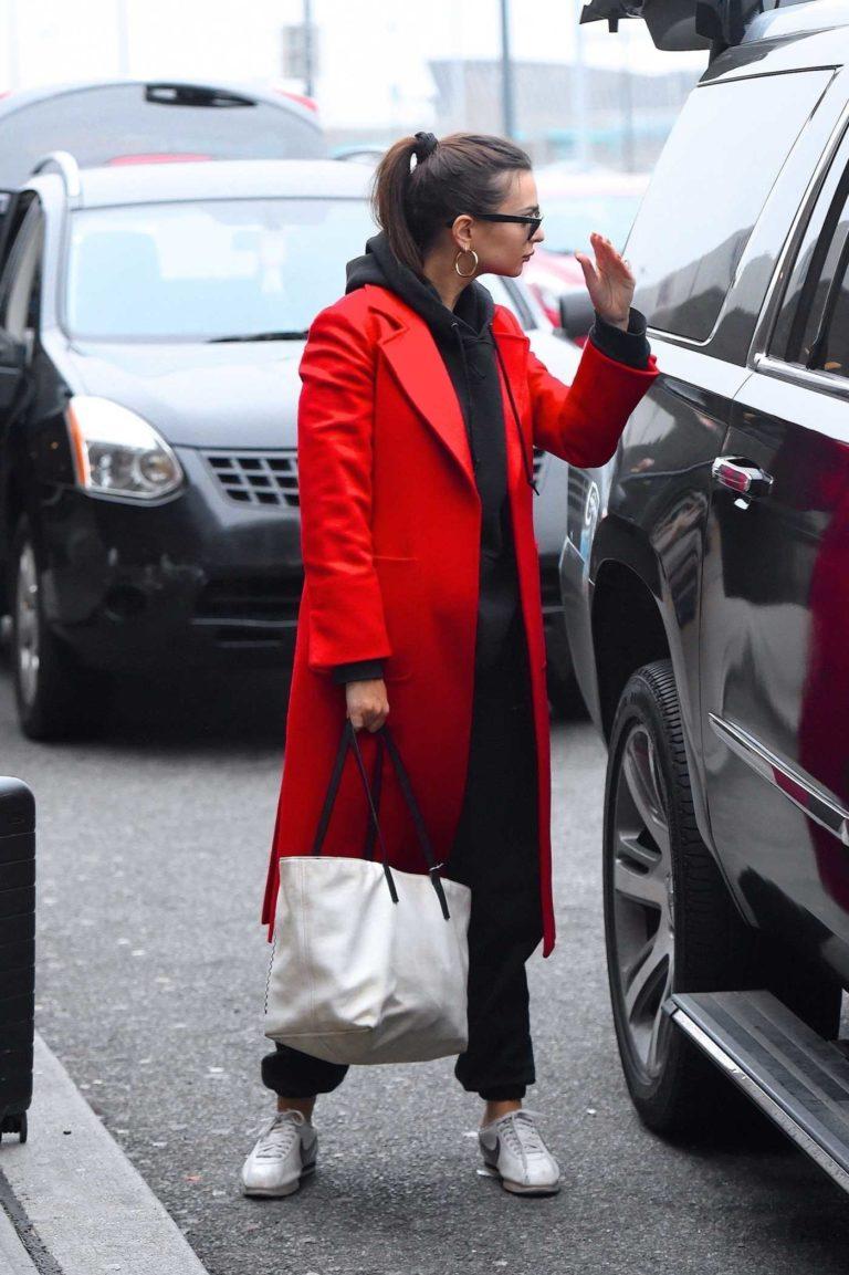 Emily Ratajkowski in a Red Coat