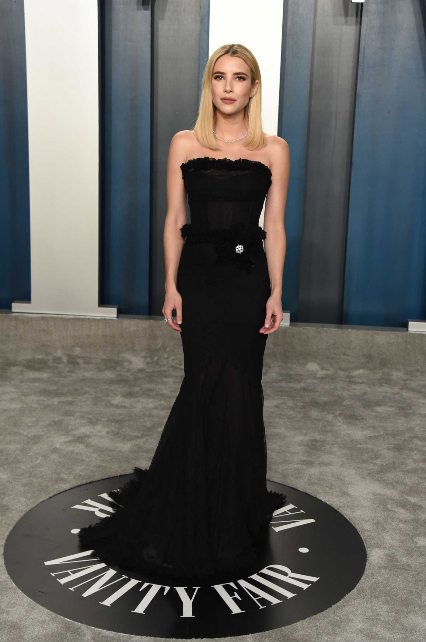 Emma Roberts Attends the 92nd Academy Awards Vanity Fair Oscar Party in Beverly Hills 02/09/2020