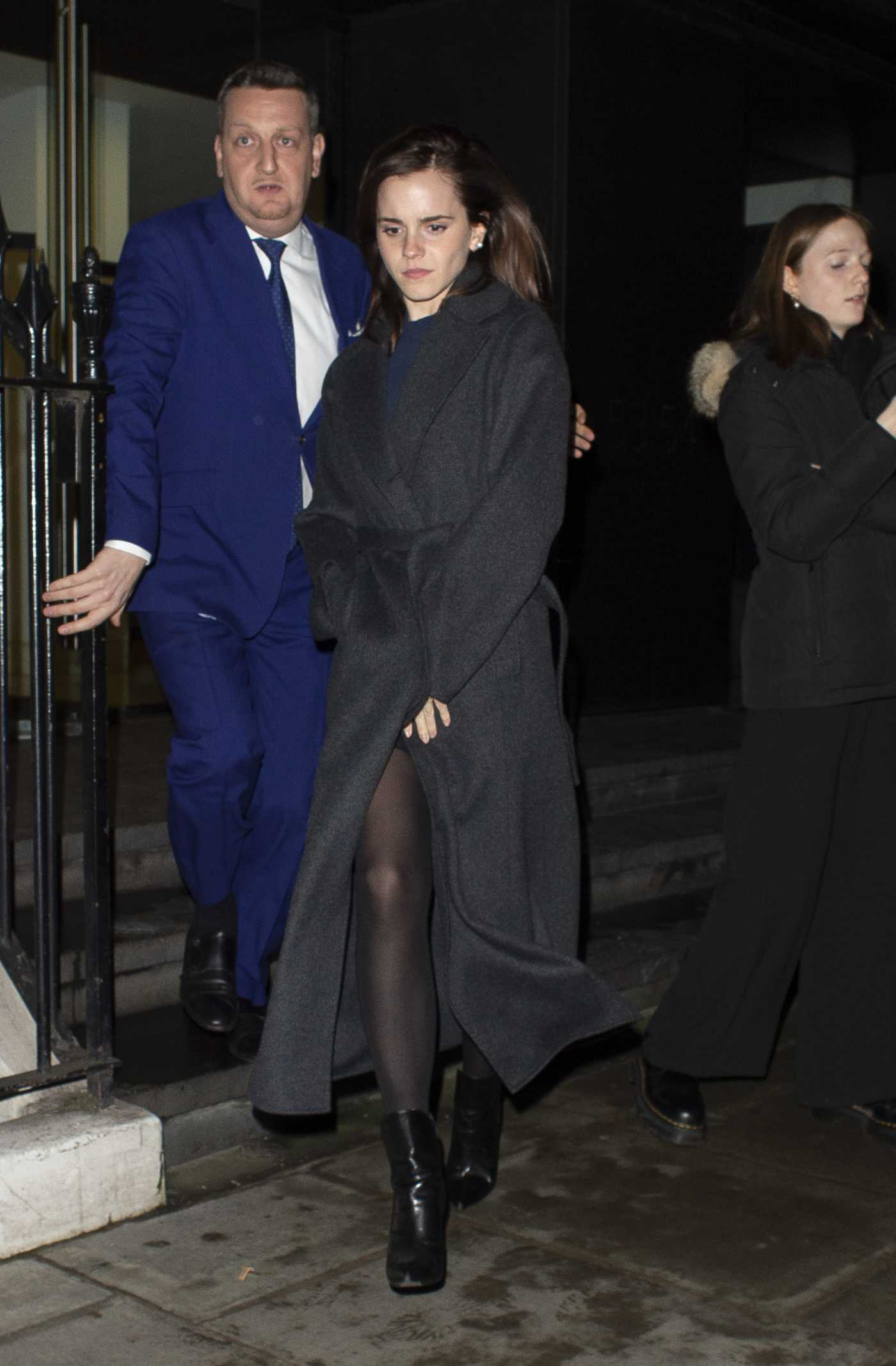 Emma Watson in a Black Coat Leaves C Restaurant in London 01/30/2020