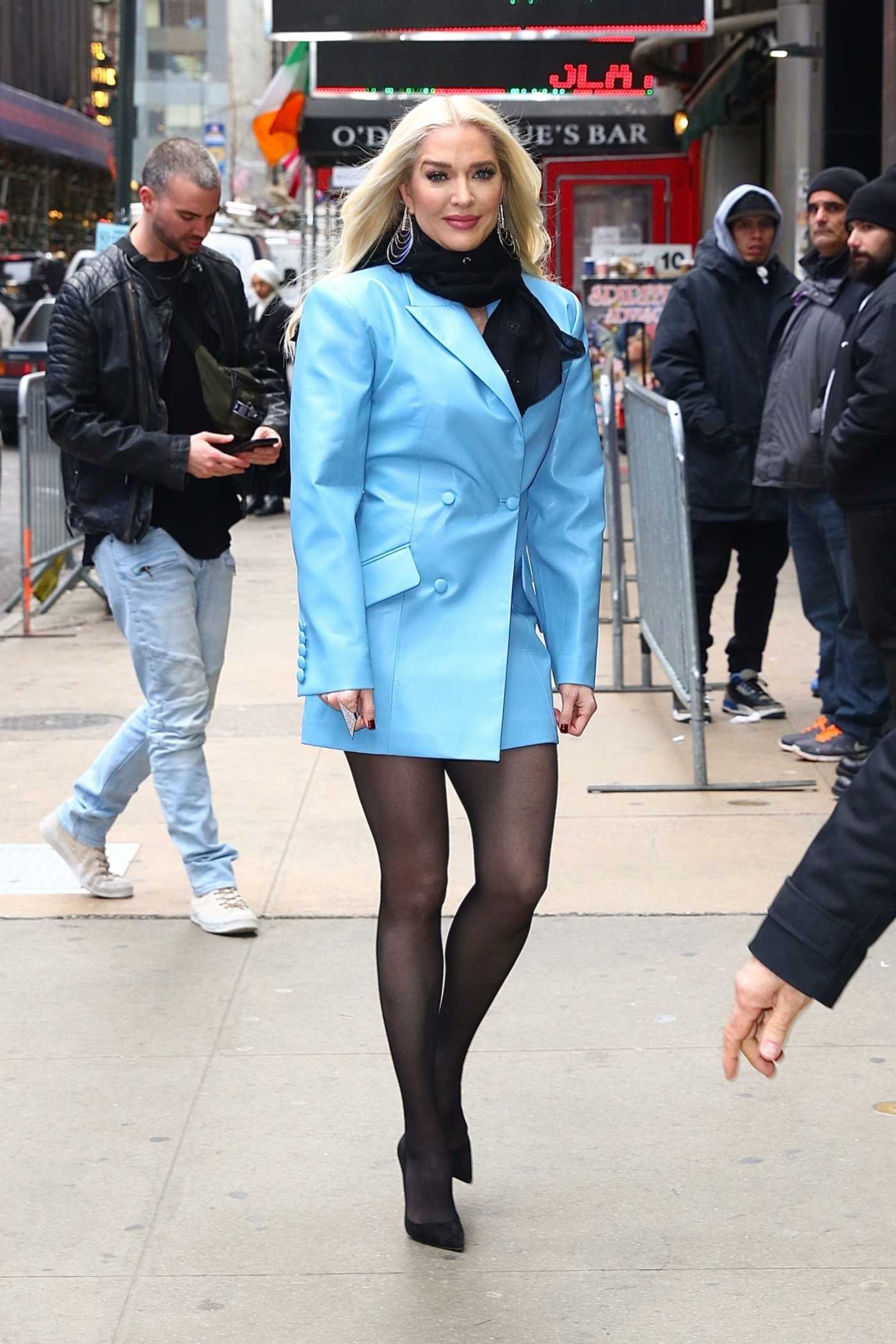 Erika Jayne in a Blue Blazer Leaves Good Morning America in New York City 02/20/2020