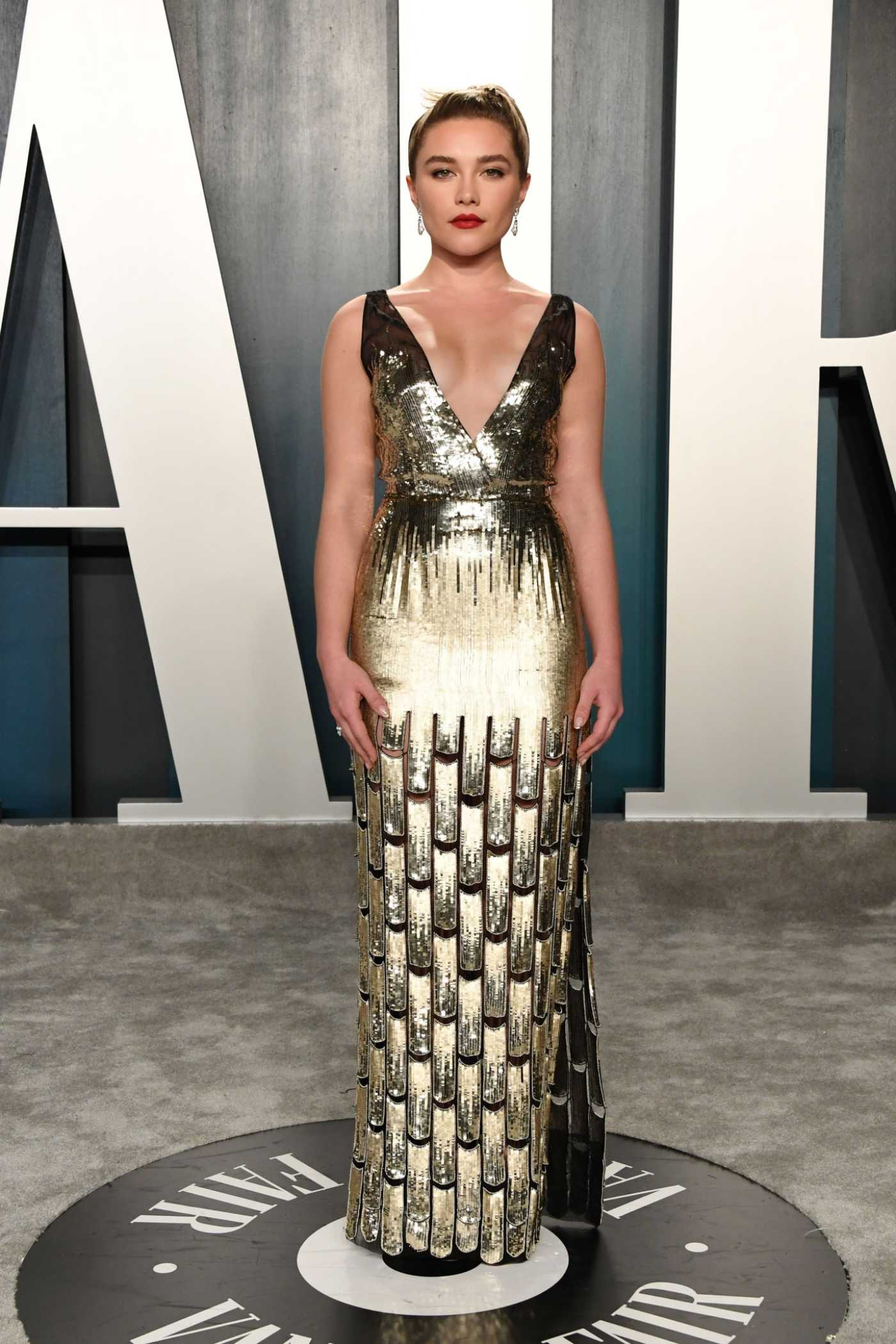 Florence Pugh Attends the 92nd Academy Awards Vanity Fair Oscar Party in Beverly Hills 02/09/2020
