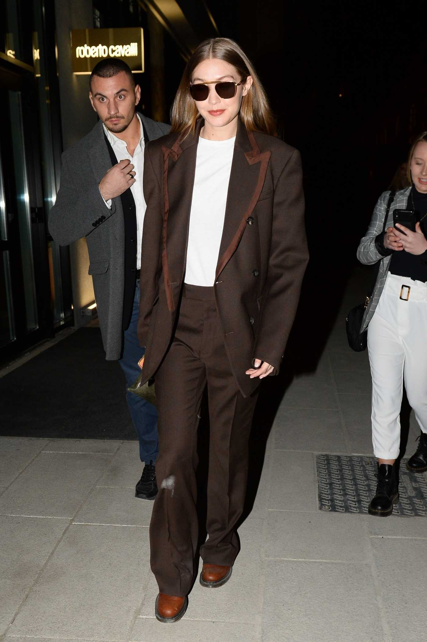 Gigi Hadid in a Brown Suit Leaves 2020 Missoni Fashion Show in Milan 02/22/2020