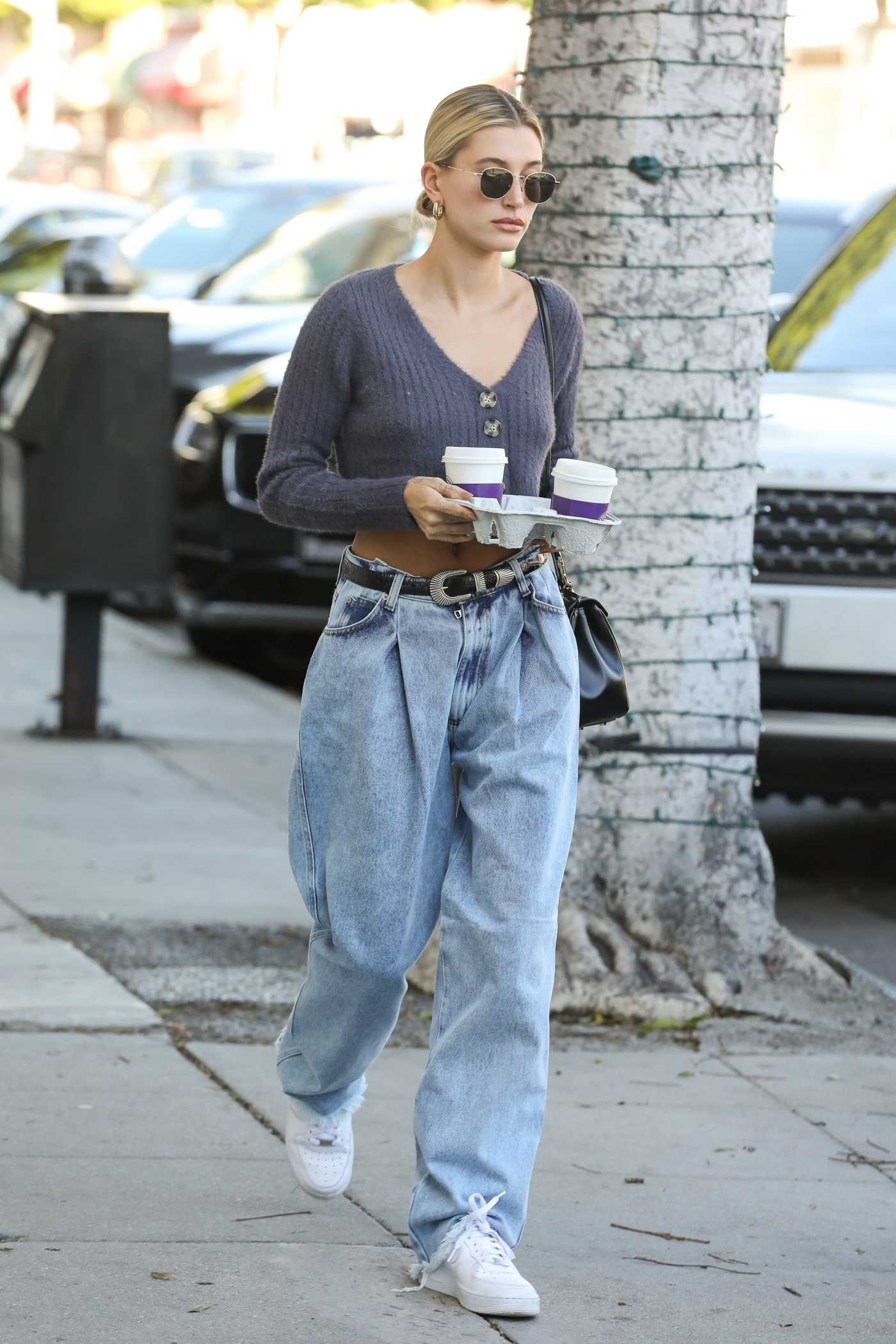 Hailey Baldwin in a White Nike Sneakers Was Seen Out in Beverly Hills 02/04/2020