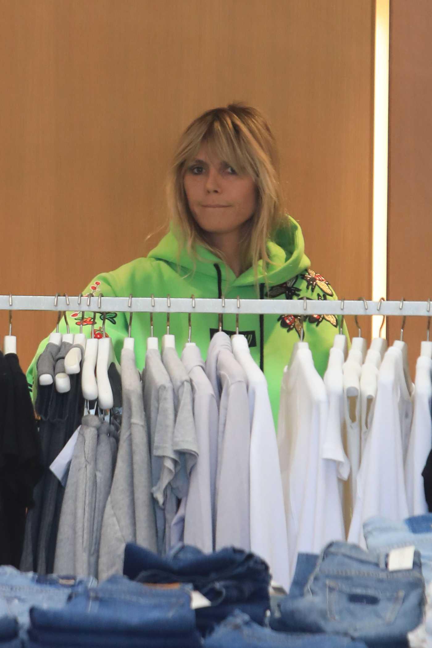Heidi Klum in a Green Hoody Goes Shopping in Los Angeles 02/01/2020