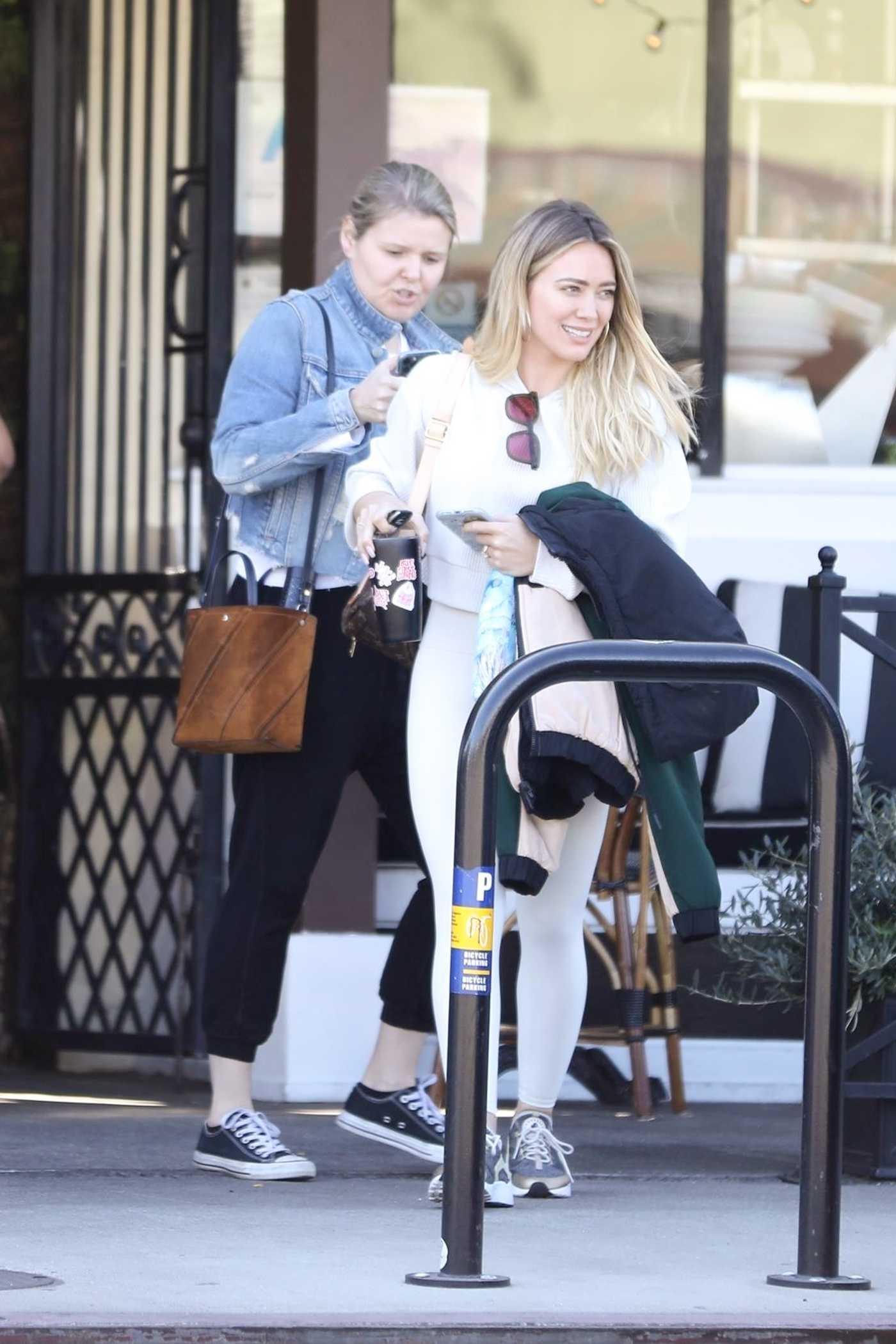 Hilary Duff in a White Leggings Was Seen Out in LA 02/07/2020