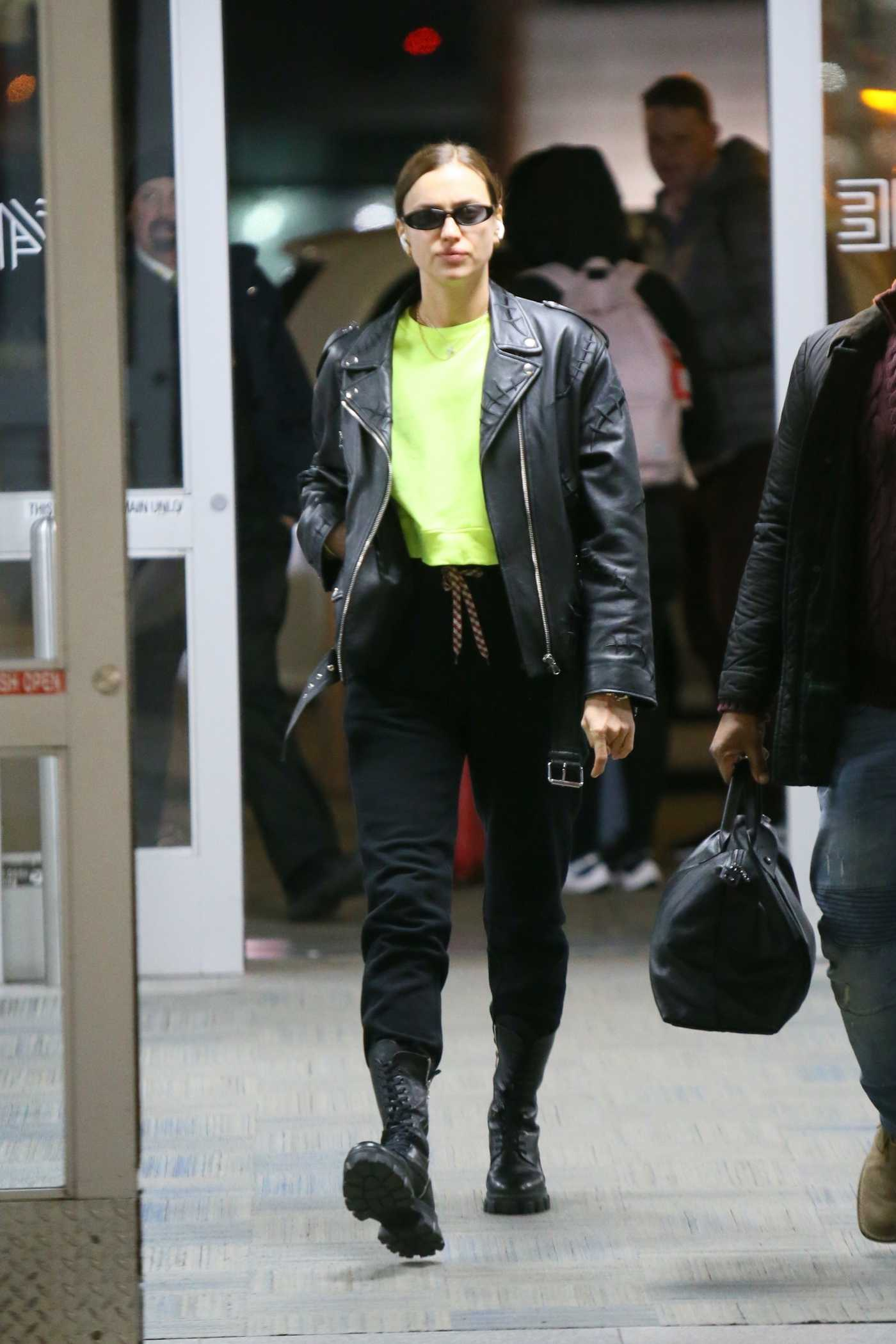 Irina Shayk in a Black Leather Jacket Arrives at JFK Airport in New York 02/15/2020