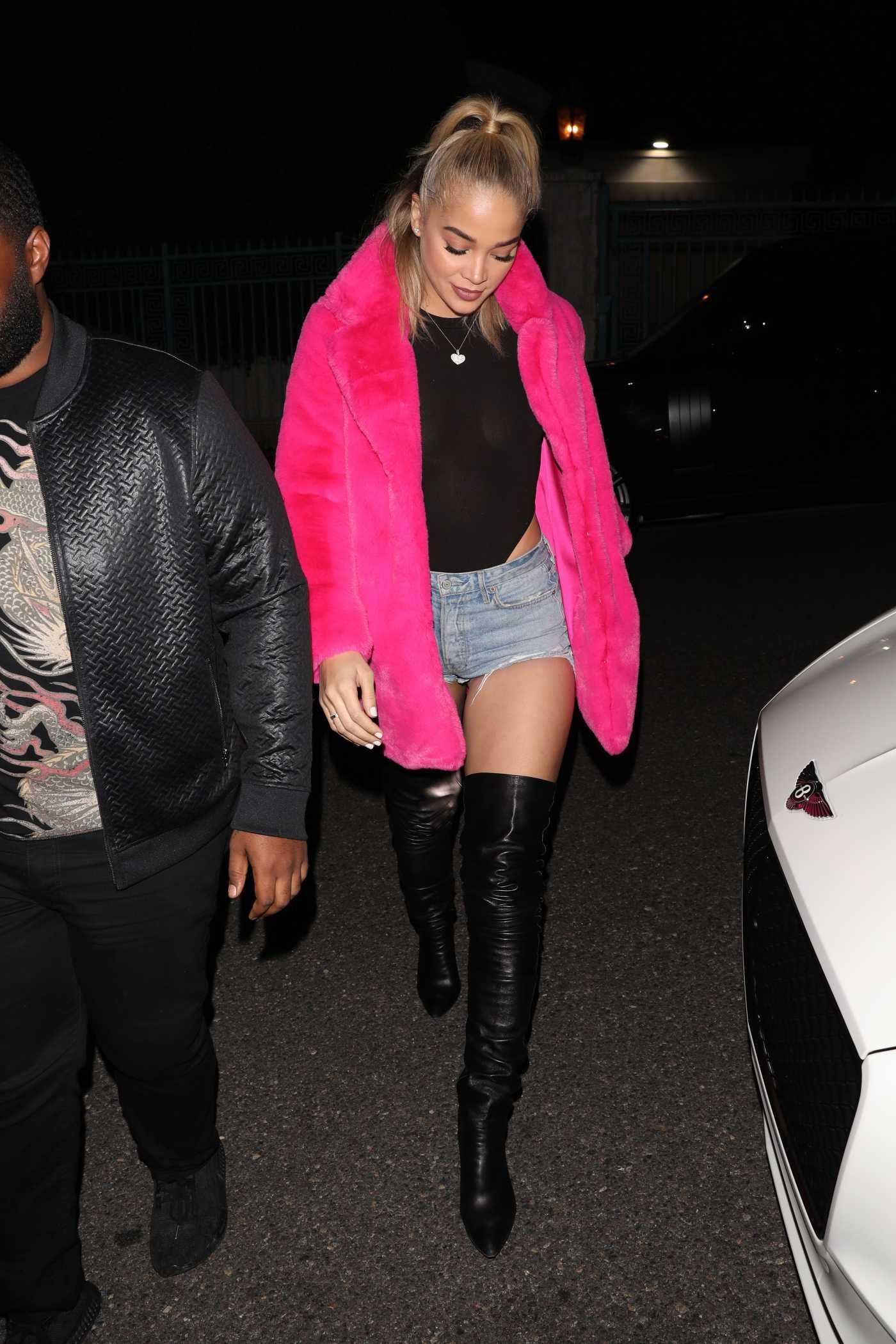 Jasmine Sanders in a Pink Fur Coat Leaves Paris Hilton's 39th Birthday Party in Los Angeles 02/21/2020