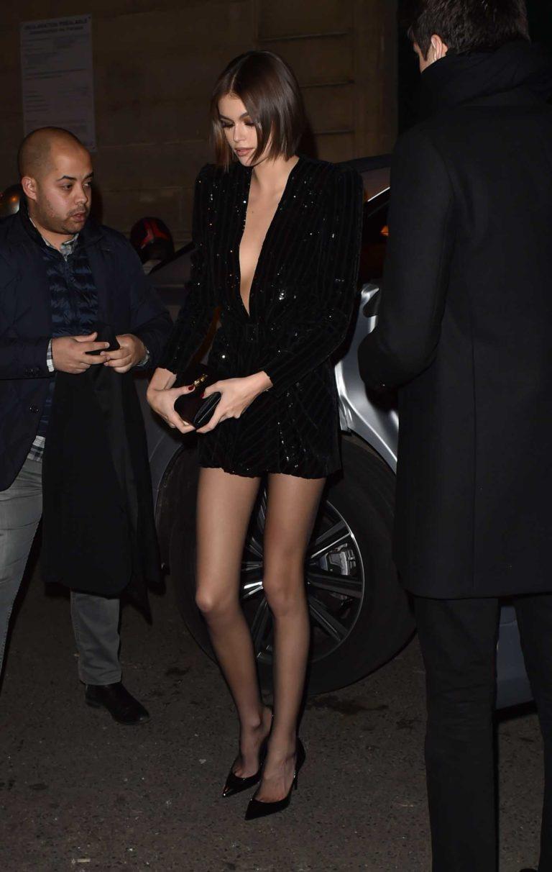 Kaia Gerber in a Black Dress