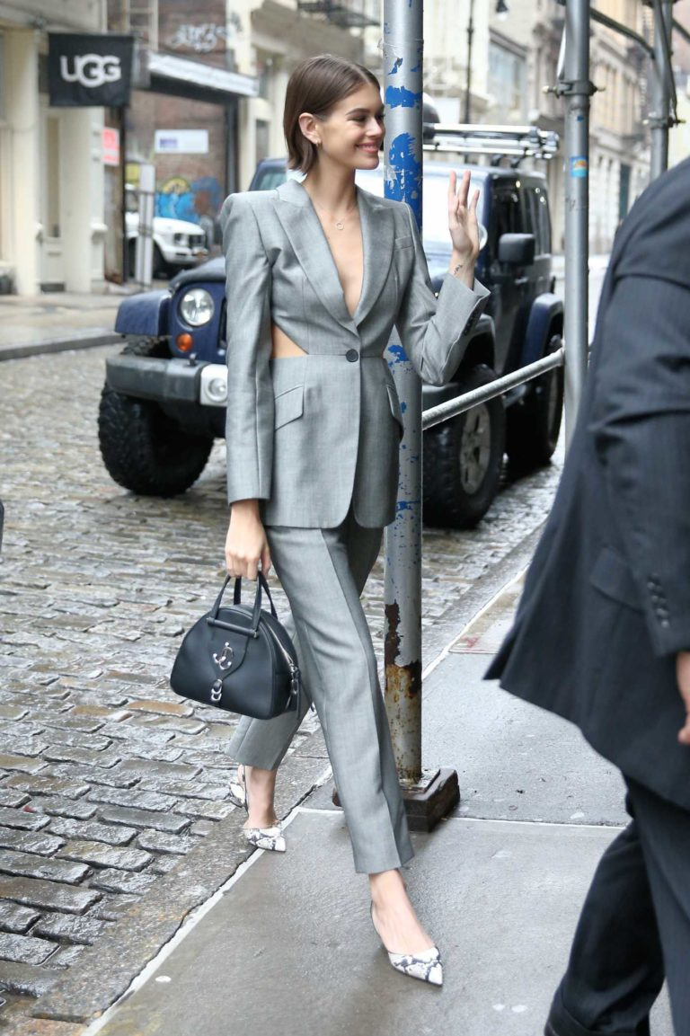 Kaia Gerber in a Gray Suit