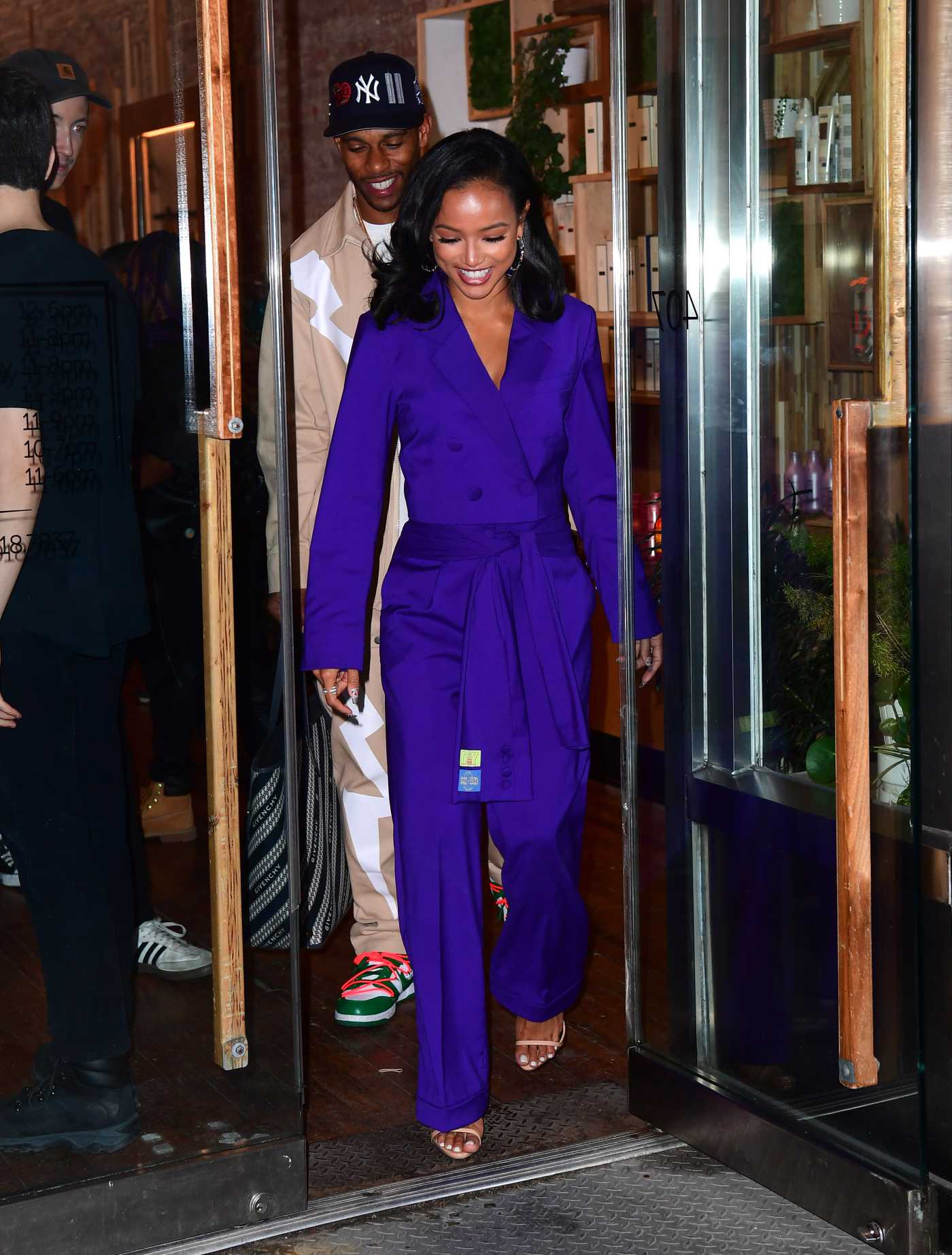 Karrueche Tran in a Purple Suit Films Makeover Show in NYC 02/06/2020
