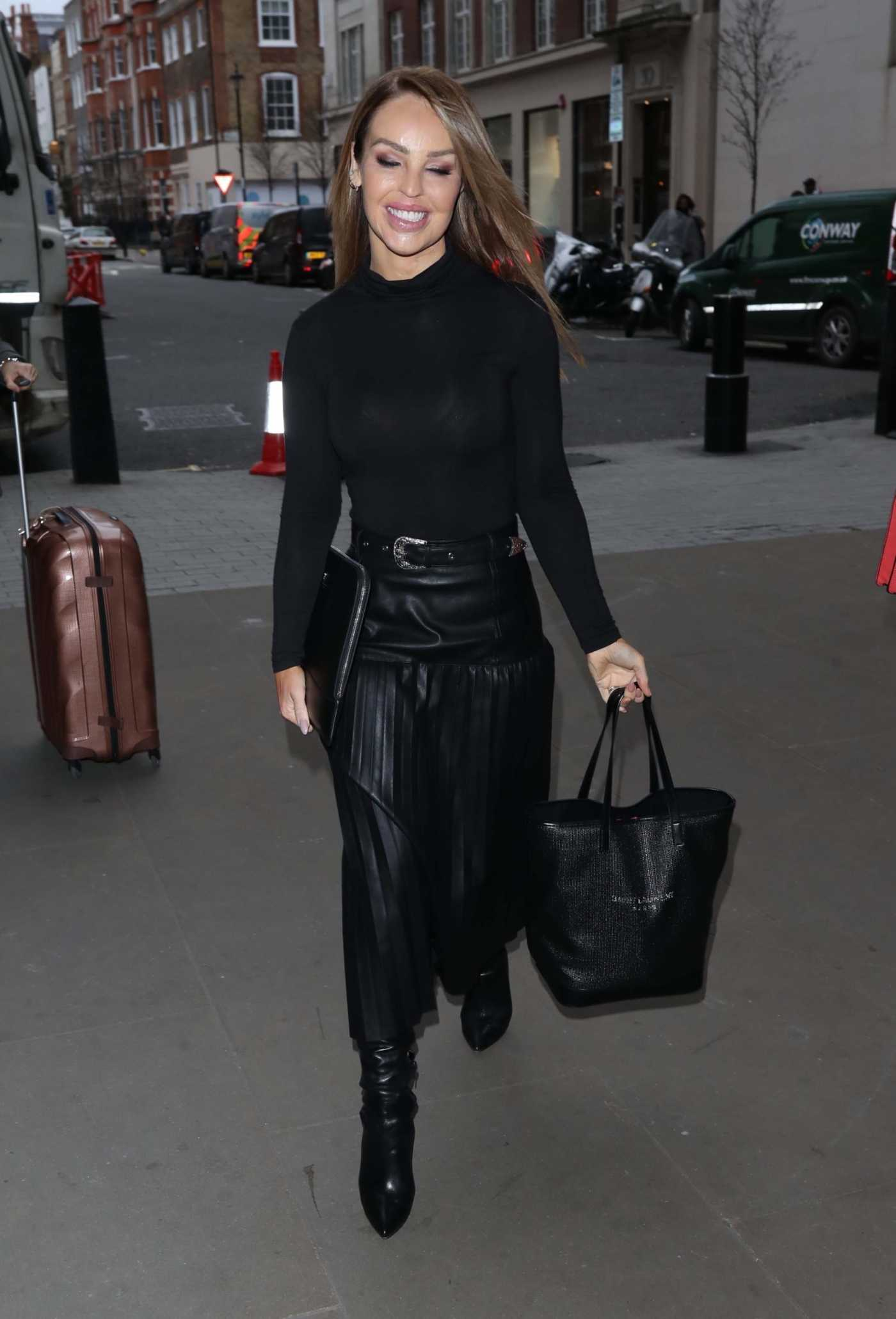 Katie Piper in a Black Leather Skirt Leaves the BBC Studios in London 02/11/2020