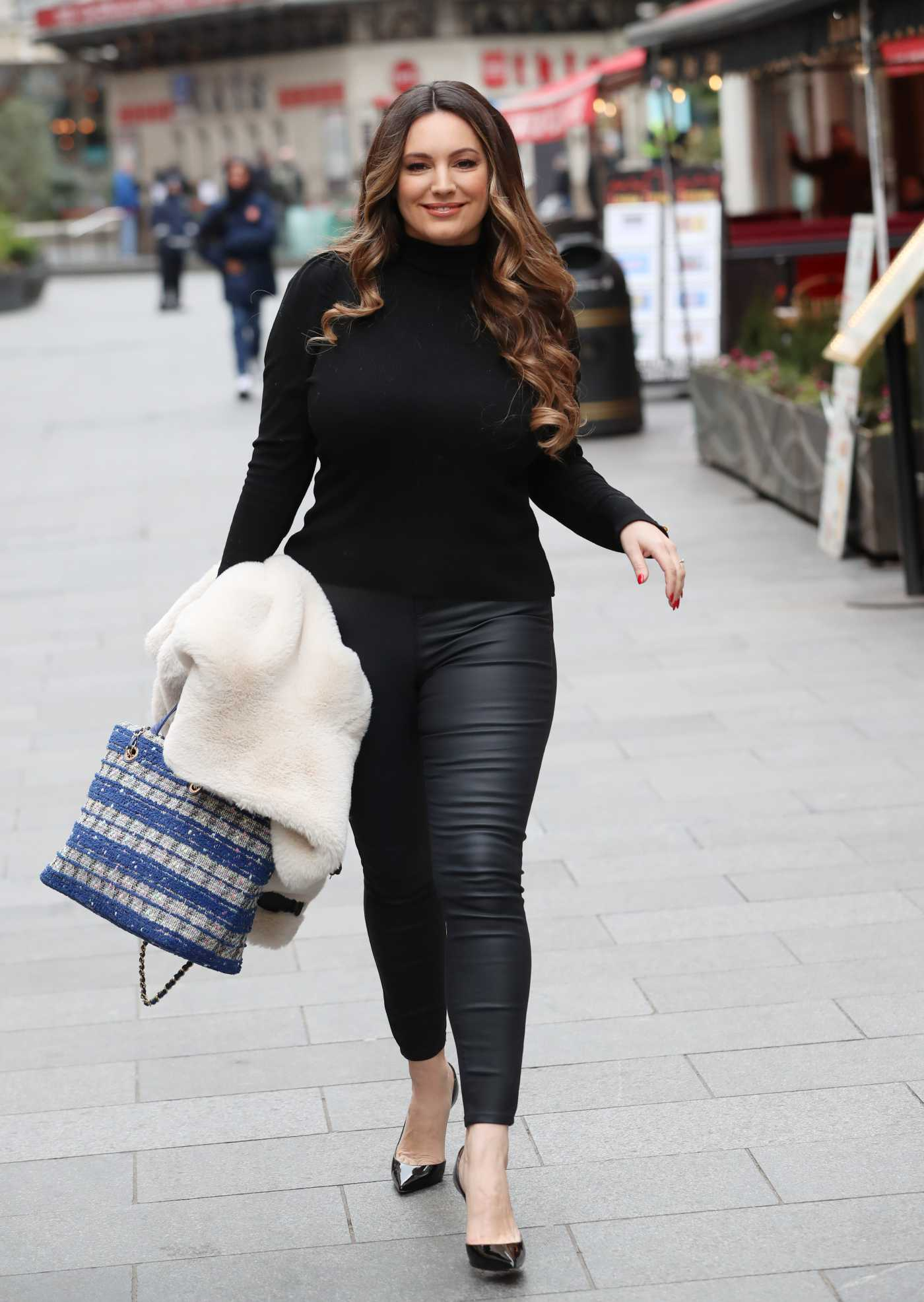 Kelly Brook in a Black Turtleneck Leaves Heart Radio in London 02/21/2020