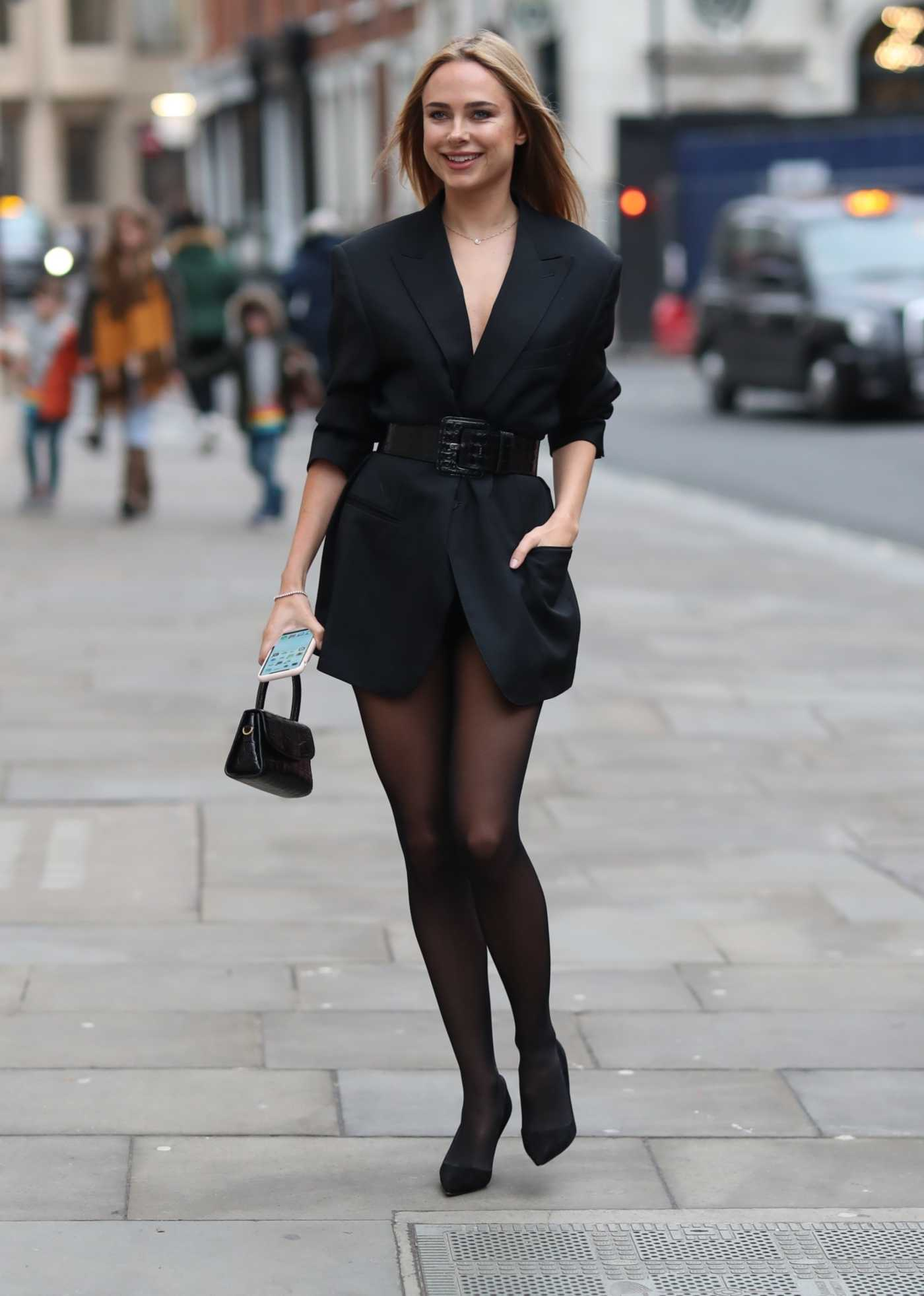 Kimberley Garner in a Black Blazer Was Seen Out in London 02/15/2020