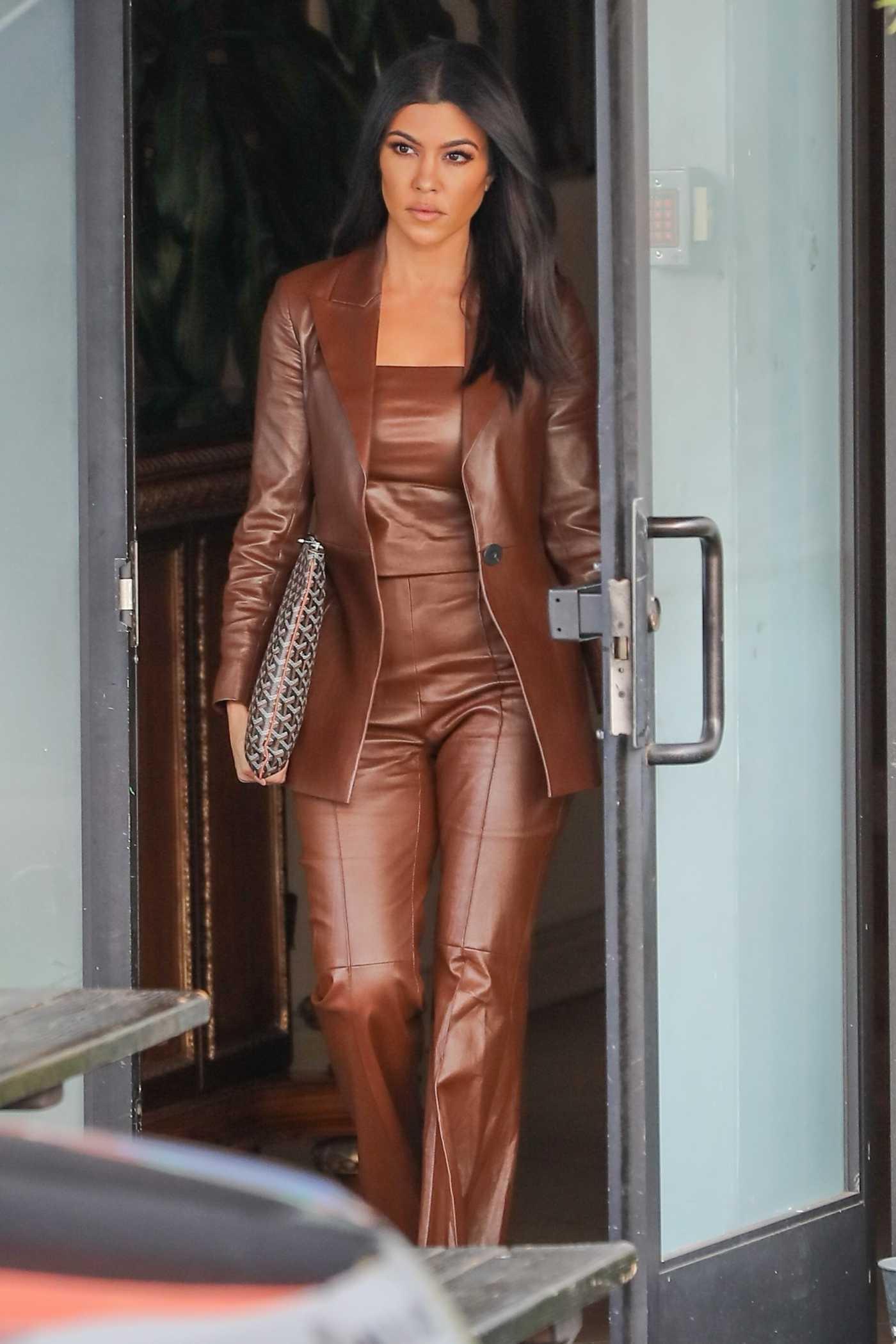 Kourtney Kardashian in a Brown Suit Leaves the Studio in Los Angeles 02/05/2020