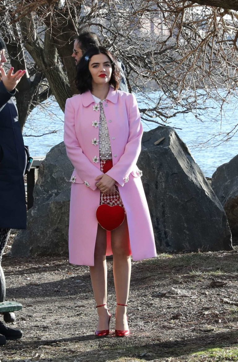 Lucy Hale in a Pink Coat