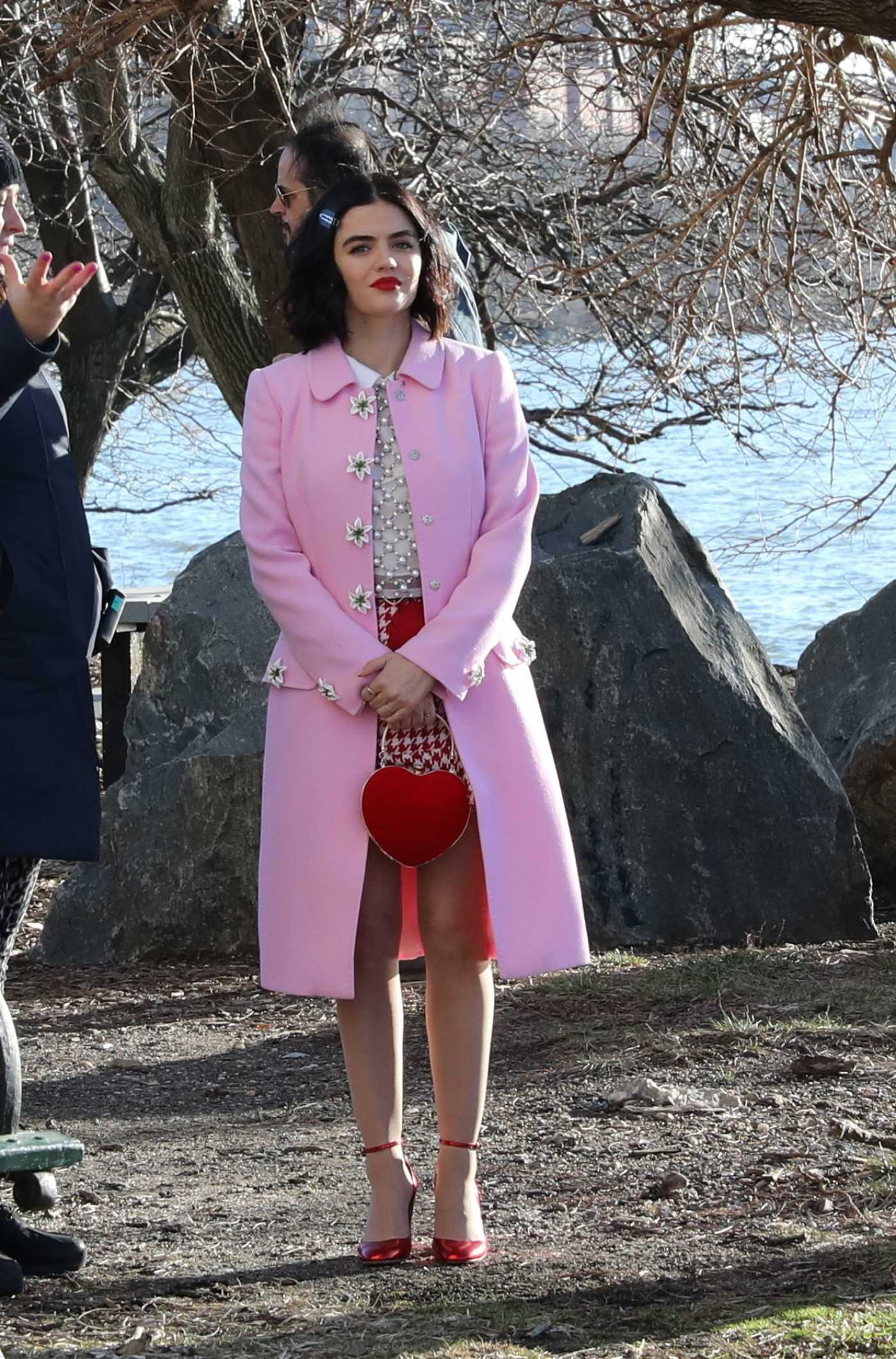 Lucy Hale in a Pink Coat on the Set of the Katy Keene in New York 02/04/2020