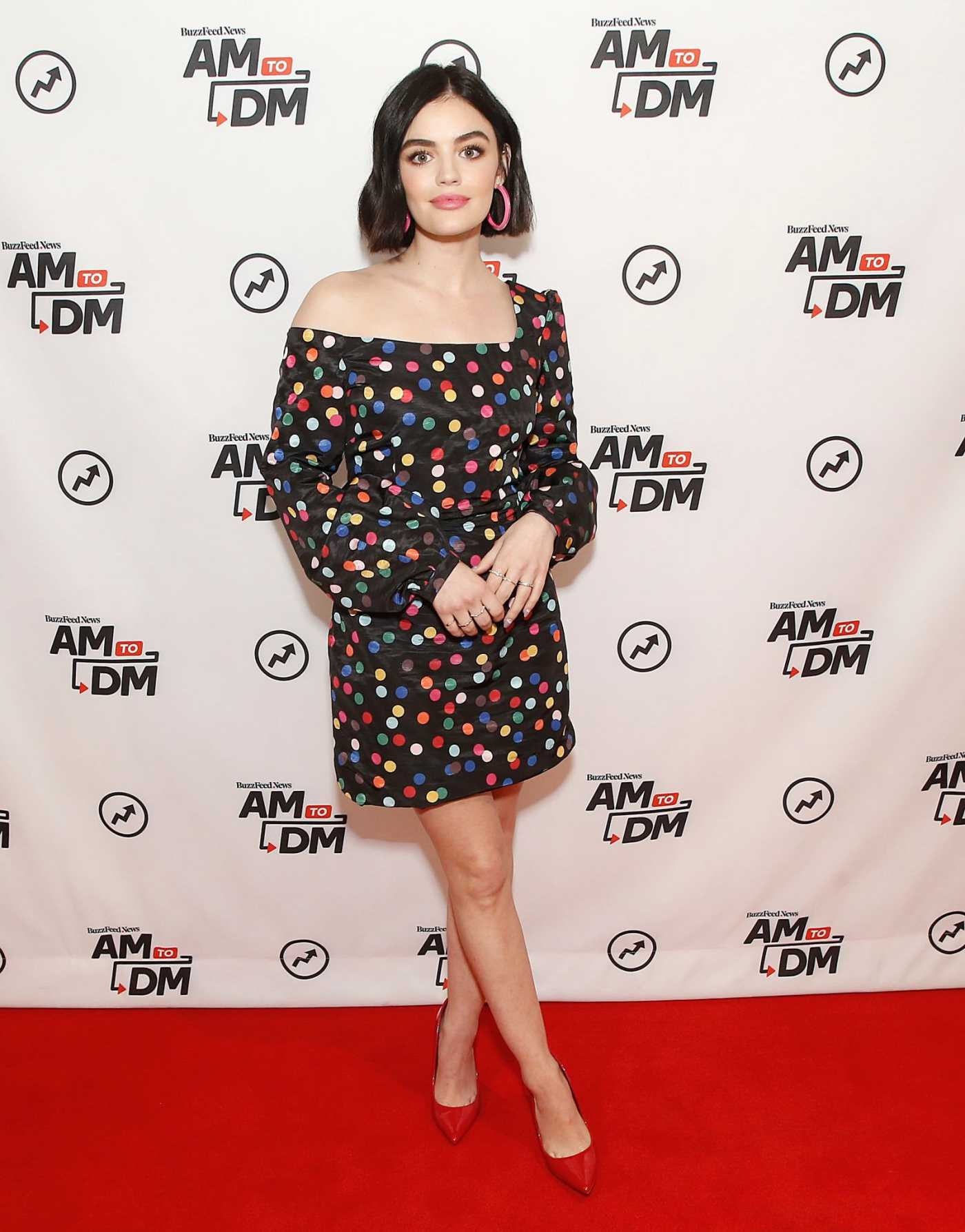 Lucy Hale Visits Buzzfeed's AM to DM in New York 02/13/2020