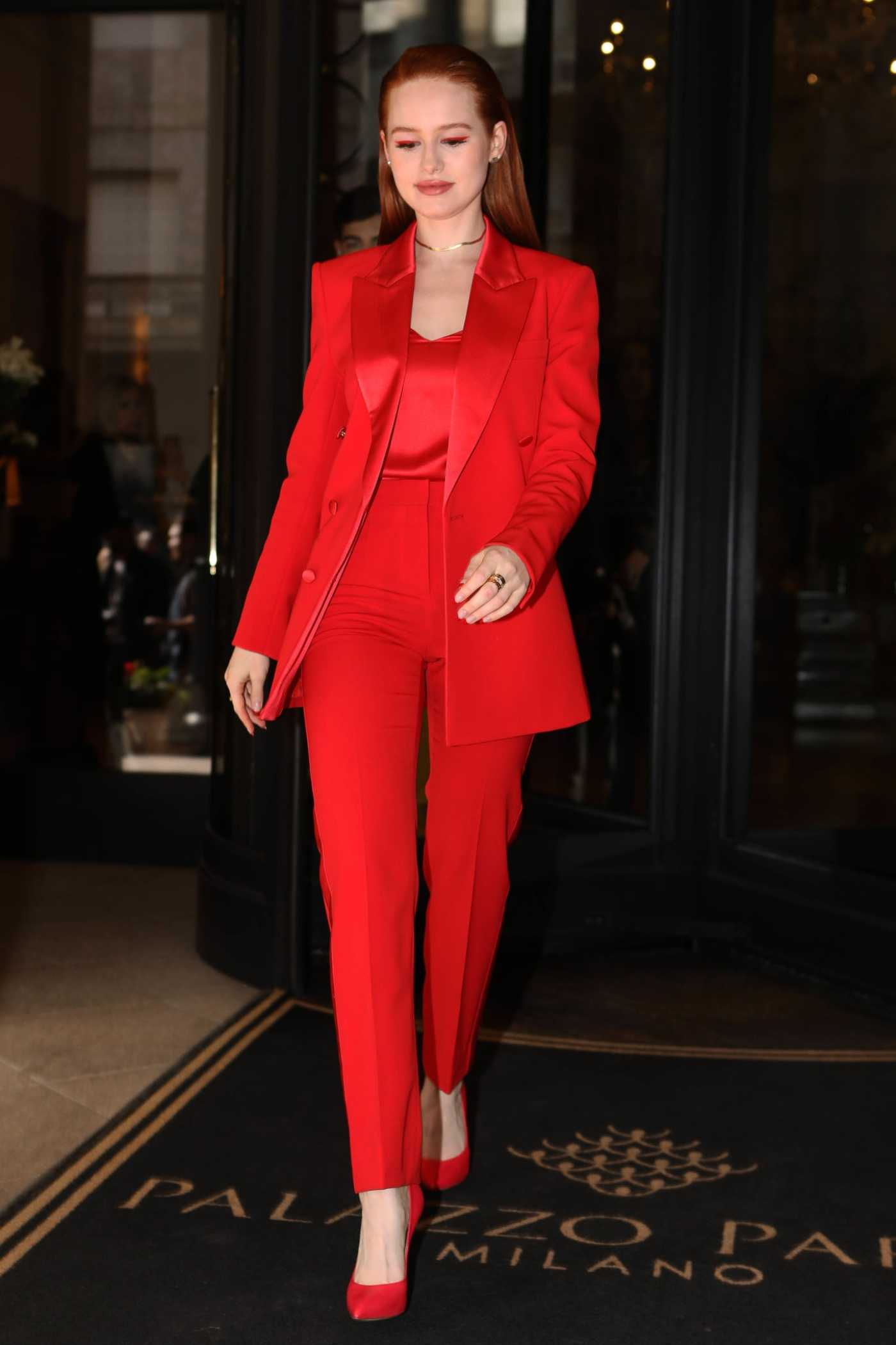Madelaine Petsch in a Red Suit Arrives at 2020 Boss Fashion Show in Milan 02/23/2020