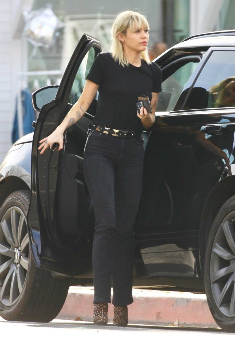 Miley Cyrus in a Black Tee