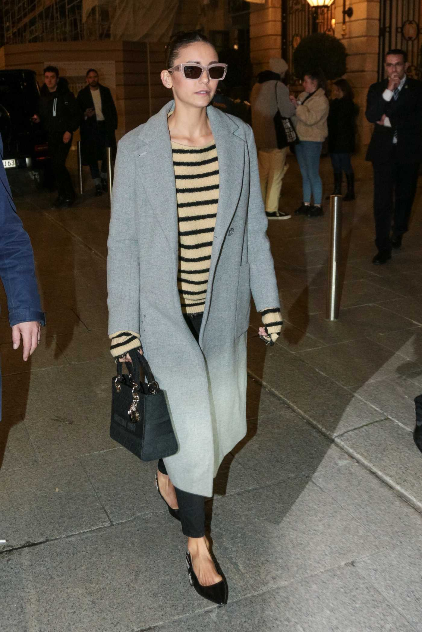 Nina Dobrev in a Gray Coat Leaves the Ritz Hotel in Paris 02/25/2020