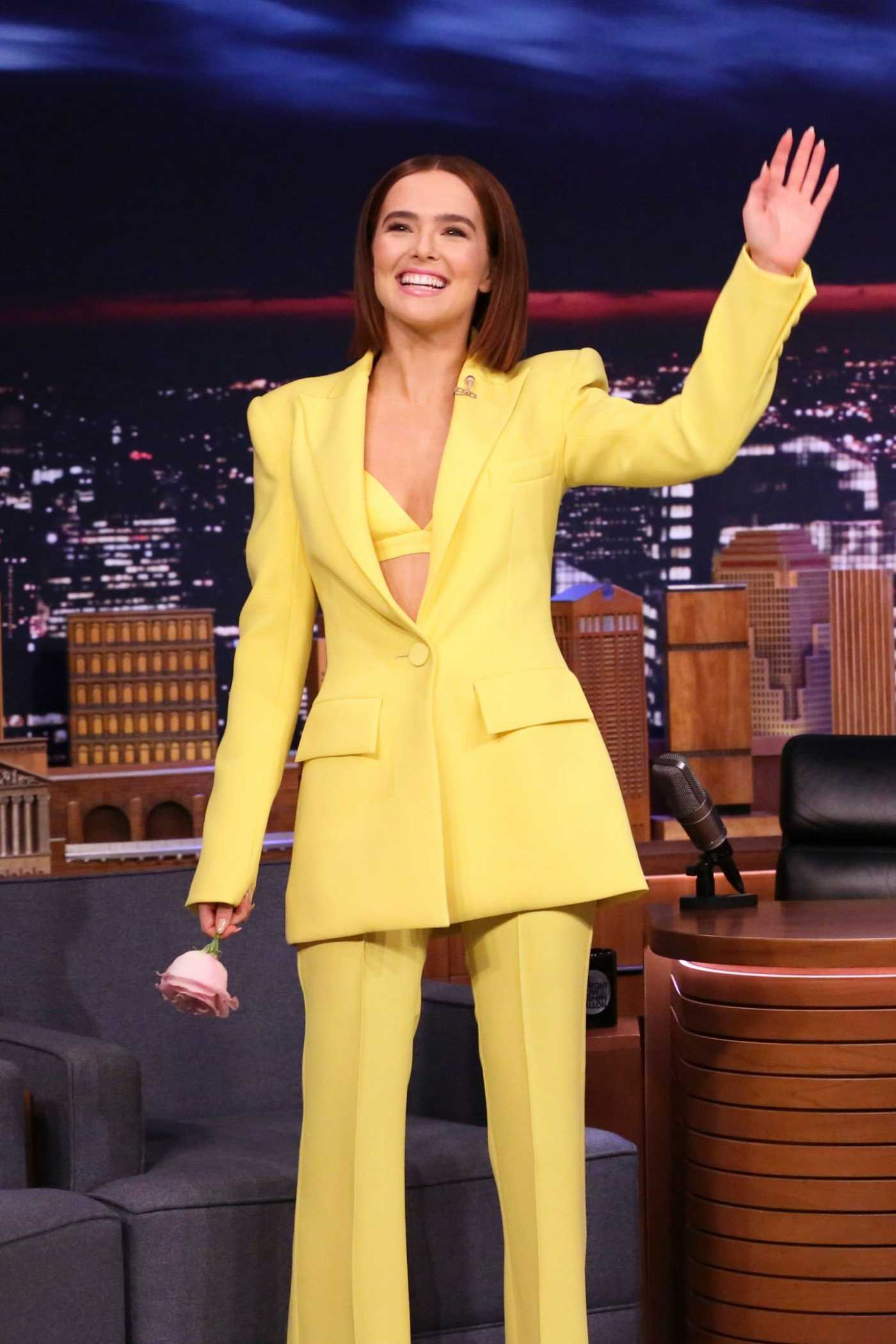 Zoey Deutch Attends The Tonight Show with Jimmy Fallon at Rockefeller Center in NYC 02/14/2020