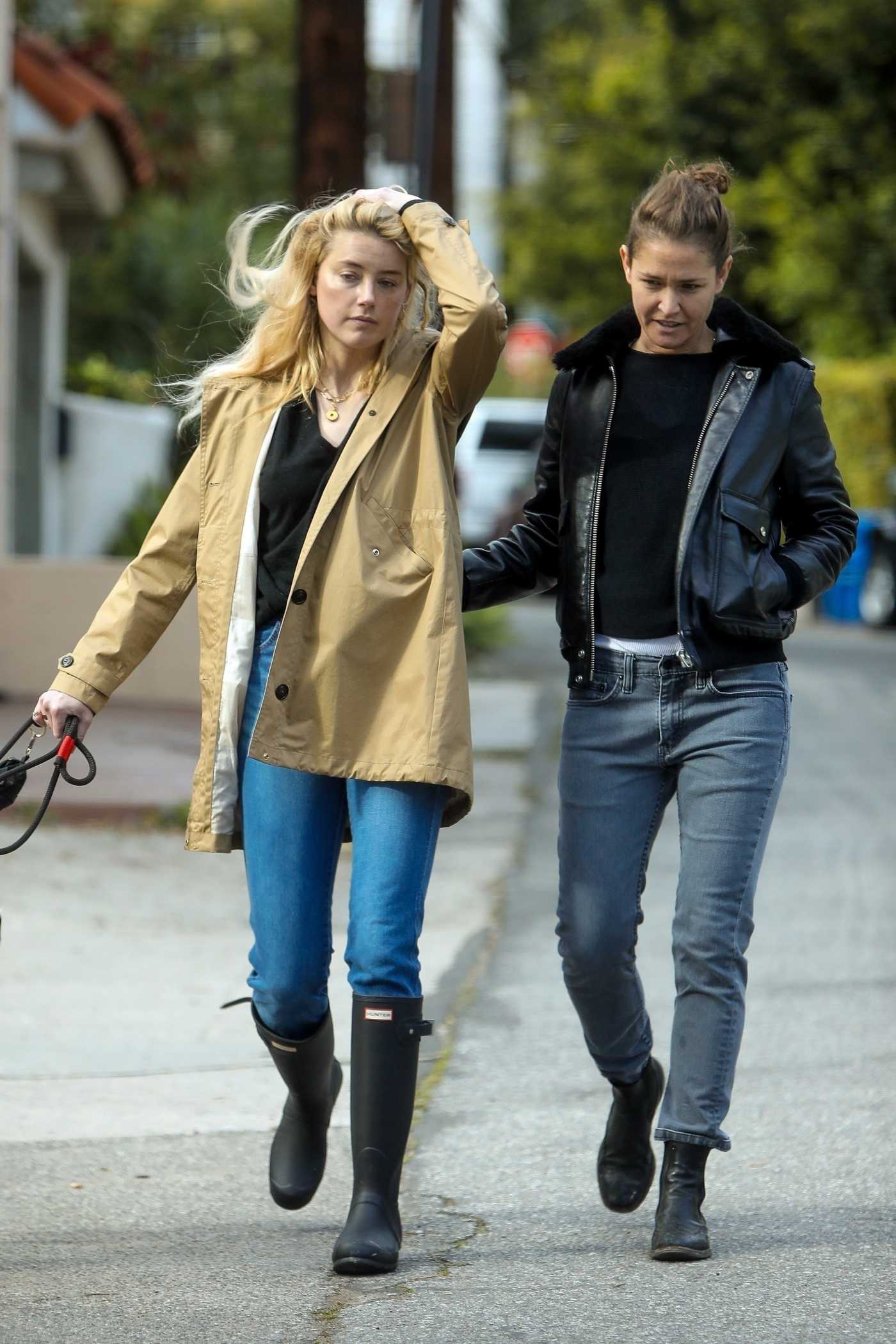 Amber Heard in a Beige Windbreaker Was Seen Out with Bianca Butti in Los Angeles 03/20/2020