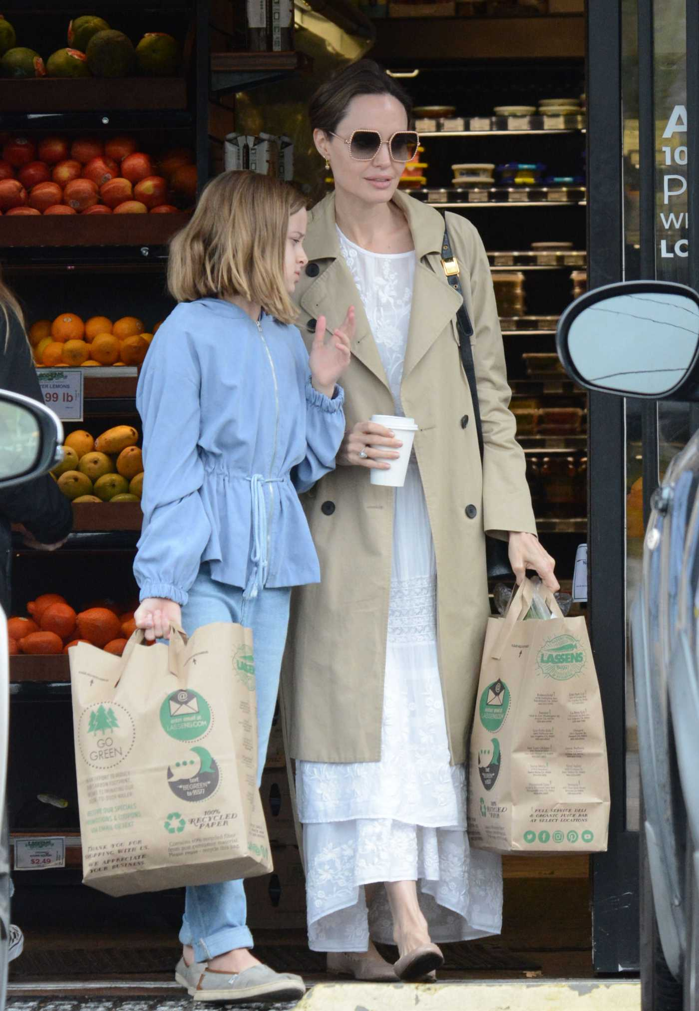 Angelina Jolie in a Beige Trench Coat Stocking up on Food in Los Angeles 03/14/2020