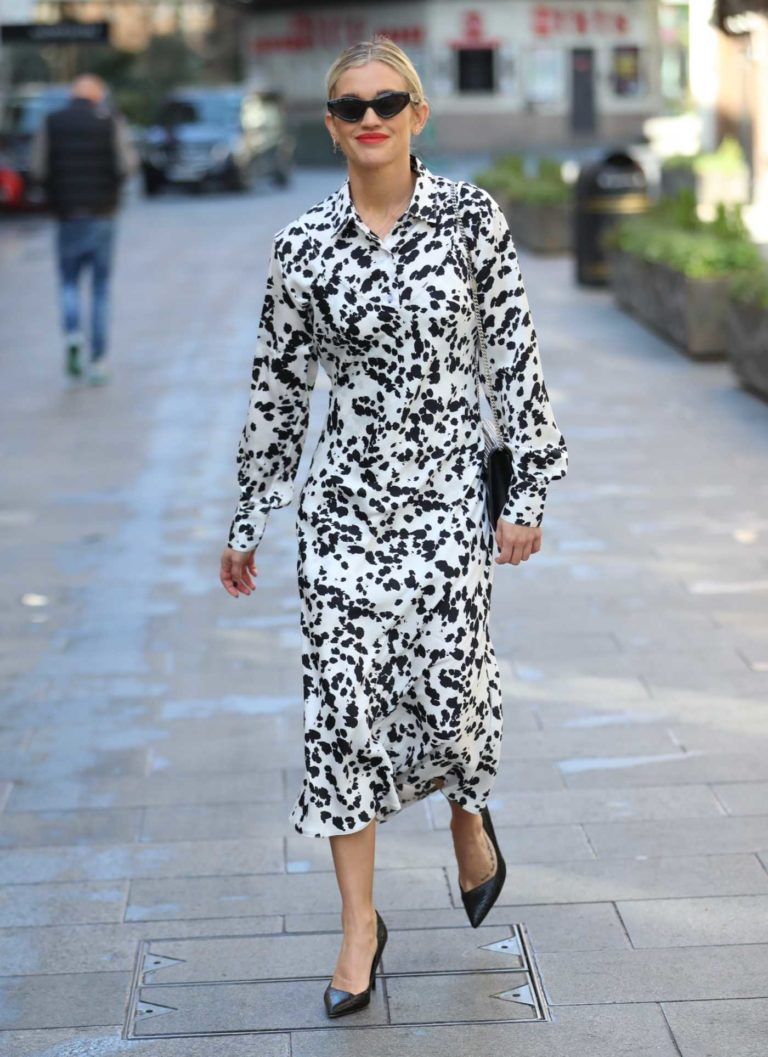 Ashley Roberts in a White and Black Animal Print Dress