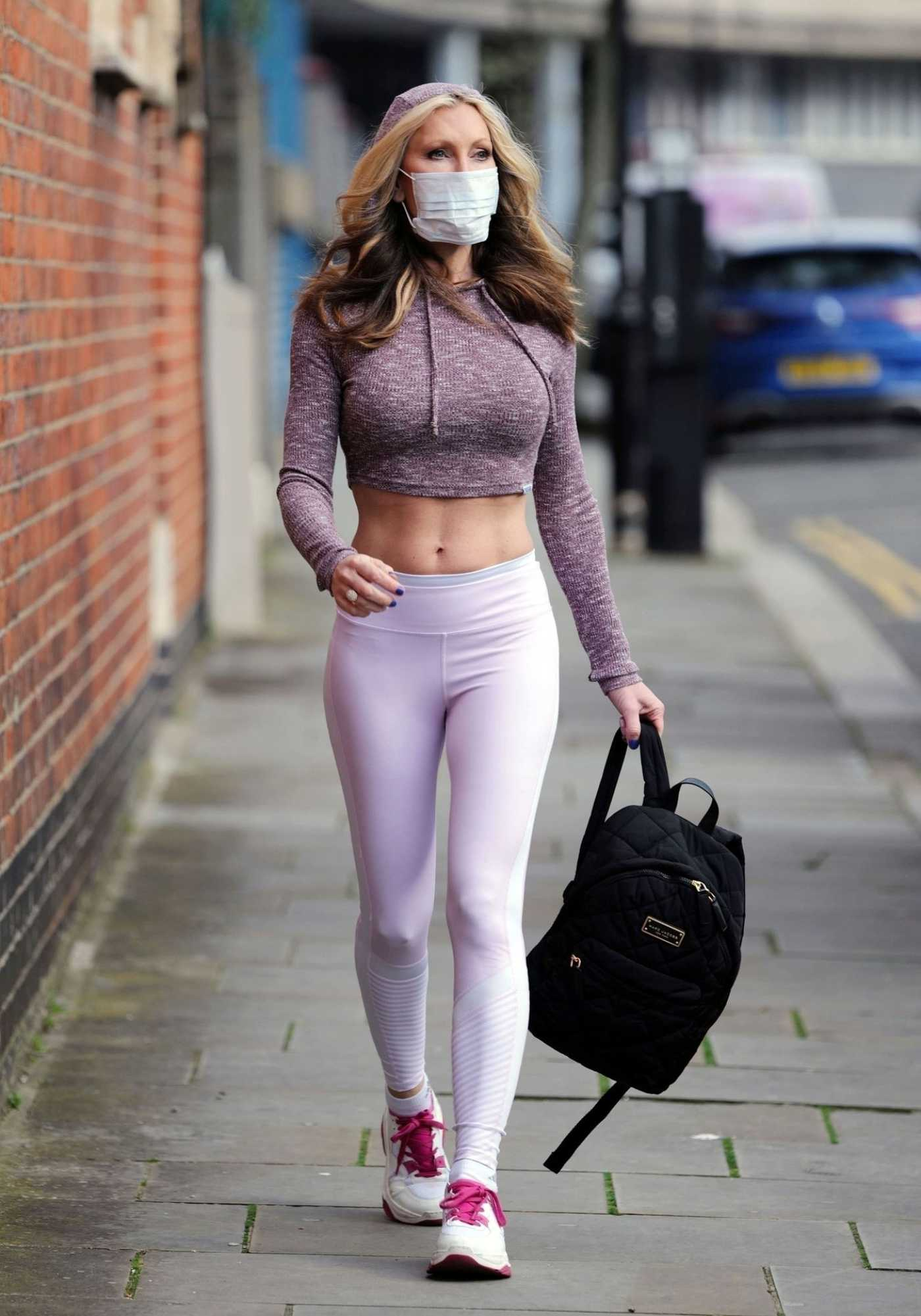 Caprice Bourret in a White Leggings Was Seen Out in London 03/17/2020