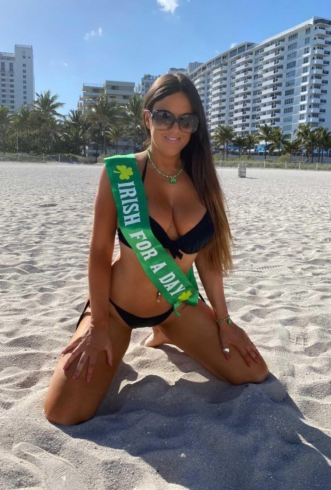 Claudia Romani in a Black Bikini on the Beach in Miami 03/16/2020
