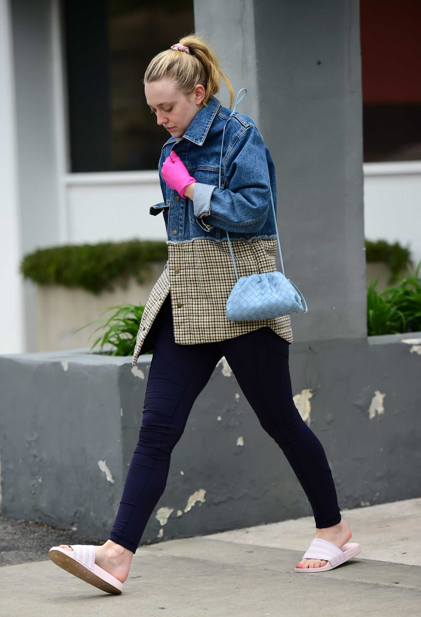 Dakota Fanning in a Pink Surgical Gloves Was Seen Out in Los Angeles 03/16/2020