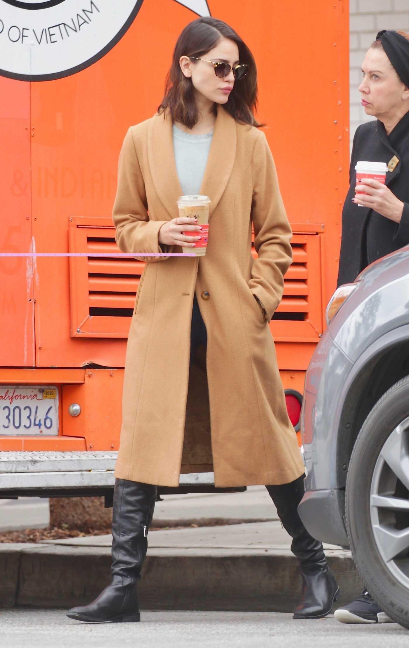 Eiza Gonzalez in a Beige Coat Was Seen Out in Los Angeles 03/14/2020