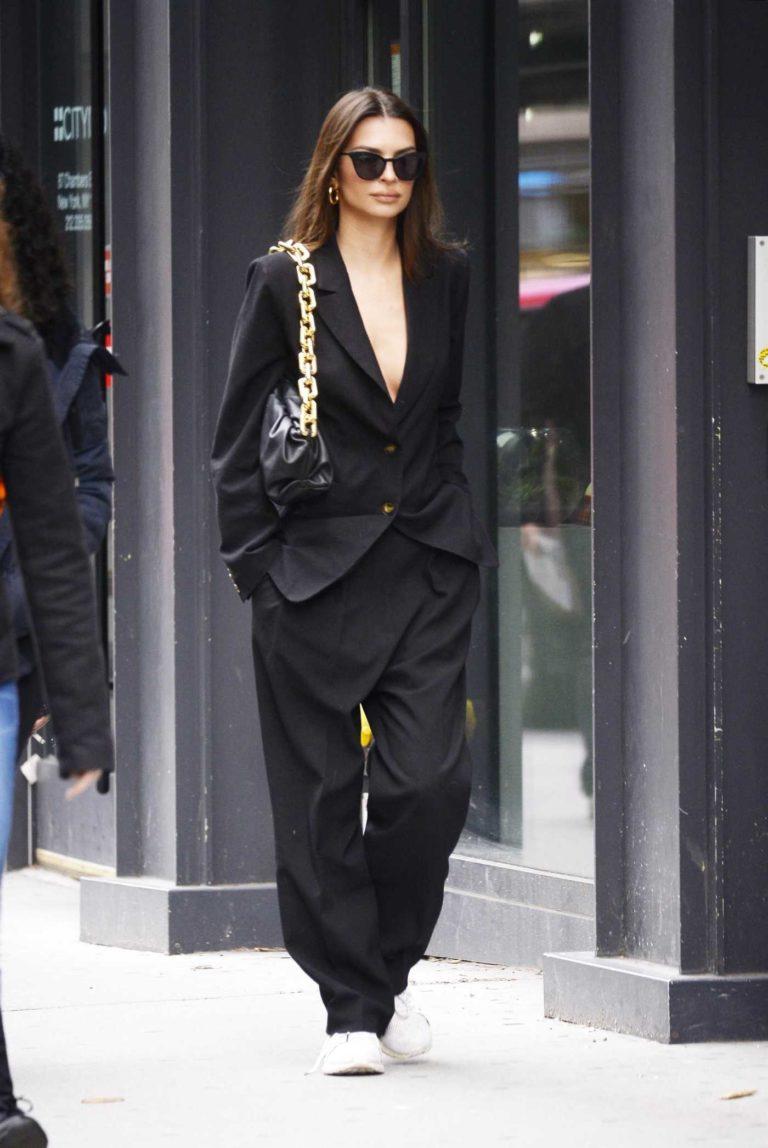 Emily Ratajkowski in a Black Oversized Suit