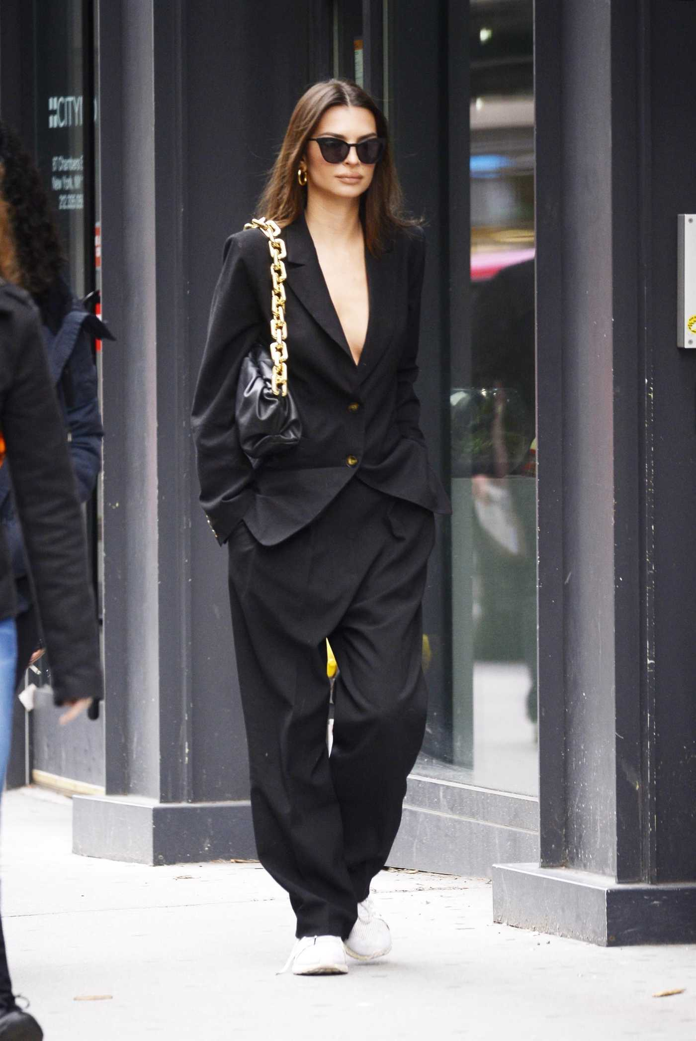 Emily Ratajkowski in a Black Oversized Suit Was Seen Out in New York 03/10/2020
