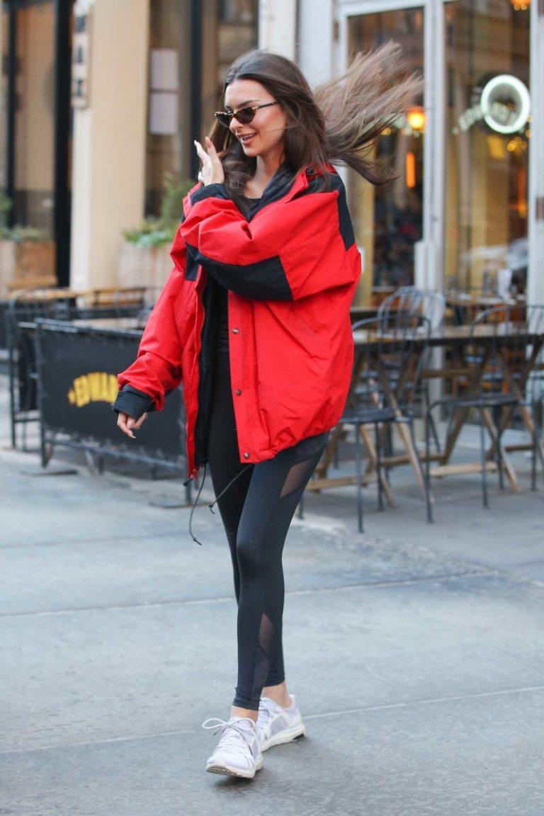 Emily Ratajkowski in a Red Jacket